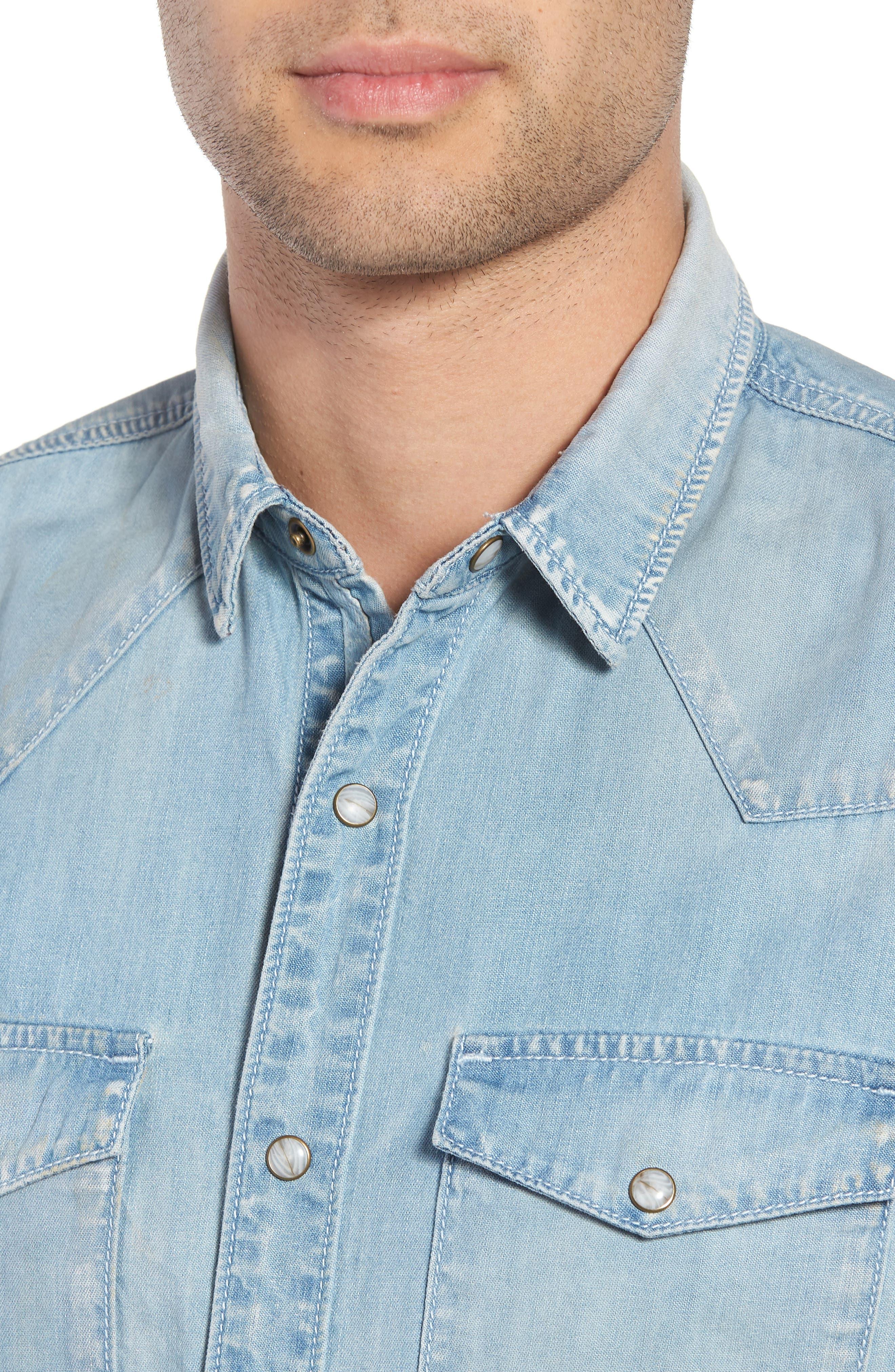 Slim Fit Western Denim Shirt,                             Alternate thumbnail 4, color,                             Blue Light Vintage Wash