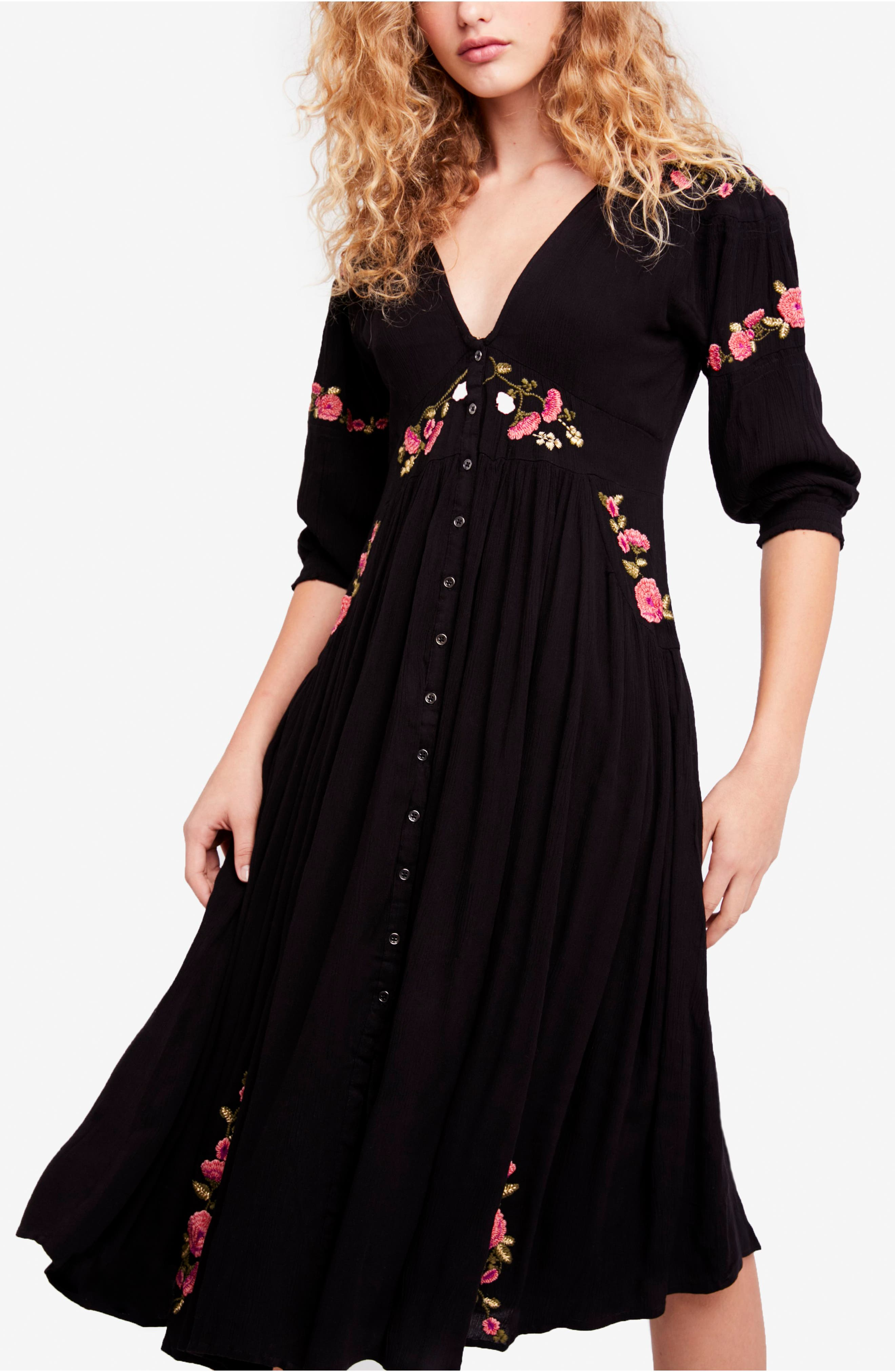 Day Glow Midi Dress,                             Main thumbnail 1, color,                             Black Combo