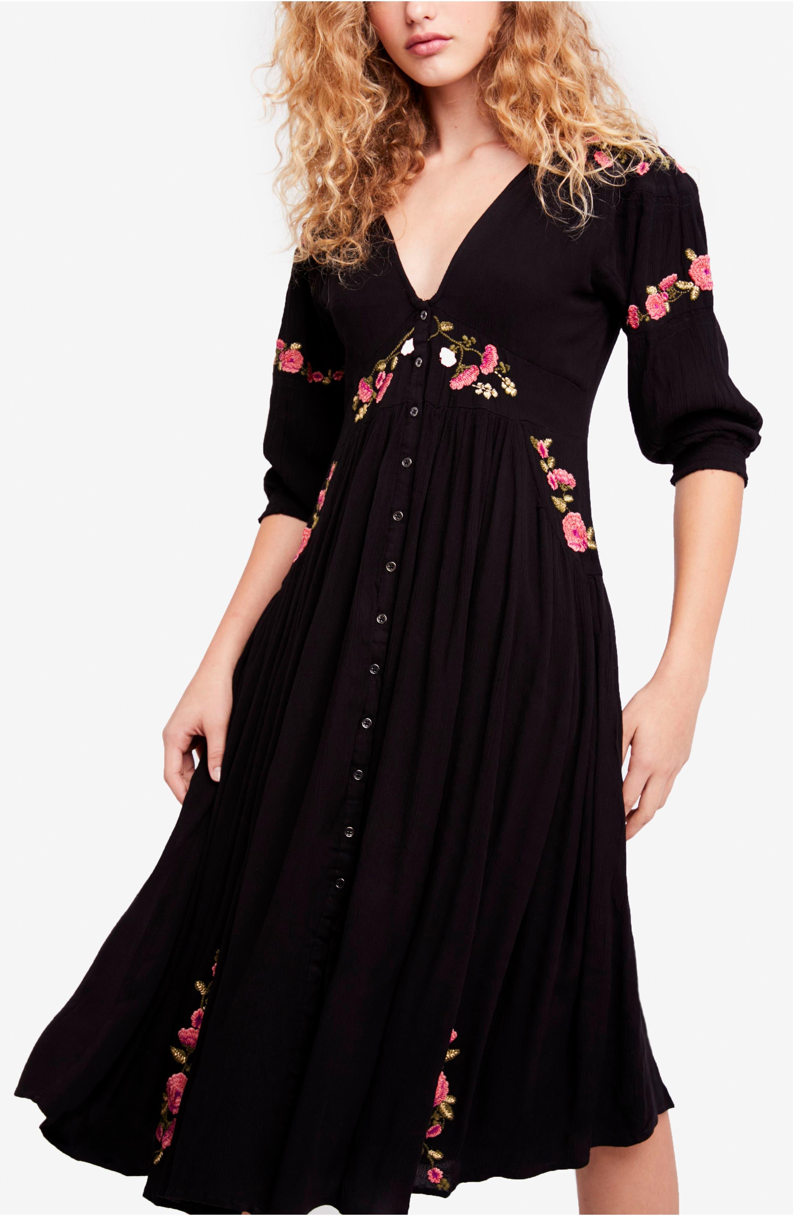 Day Glow Midi Dress,                         Main,                         color, Black Combo