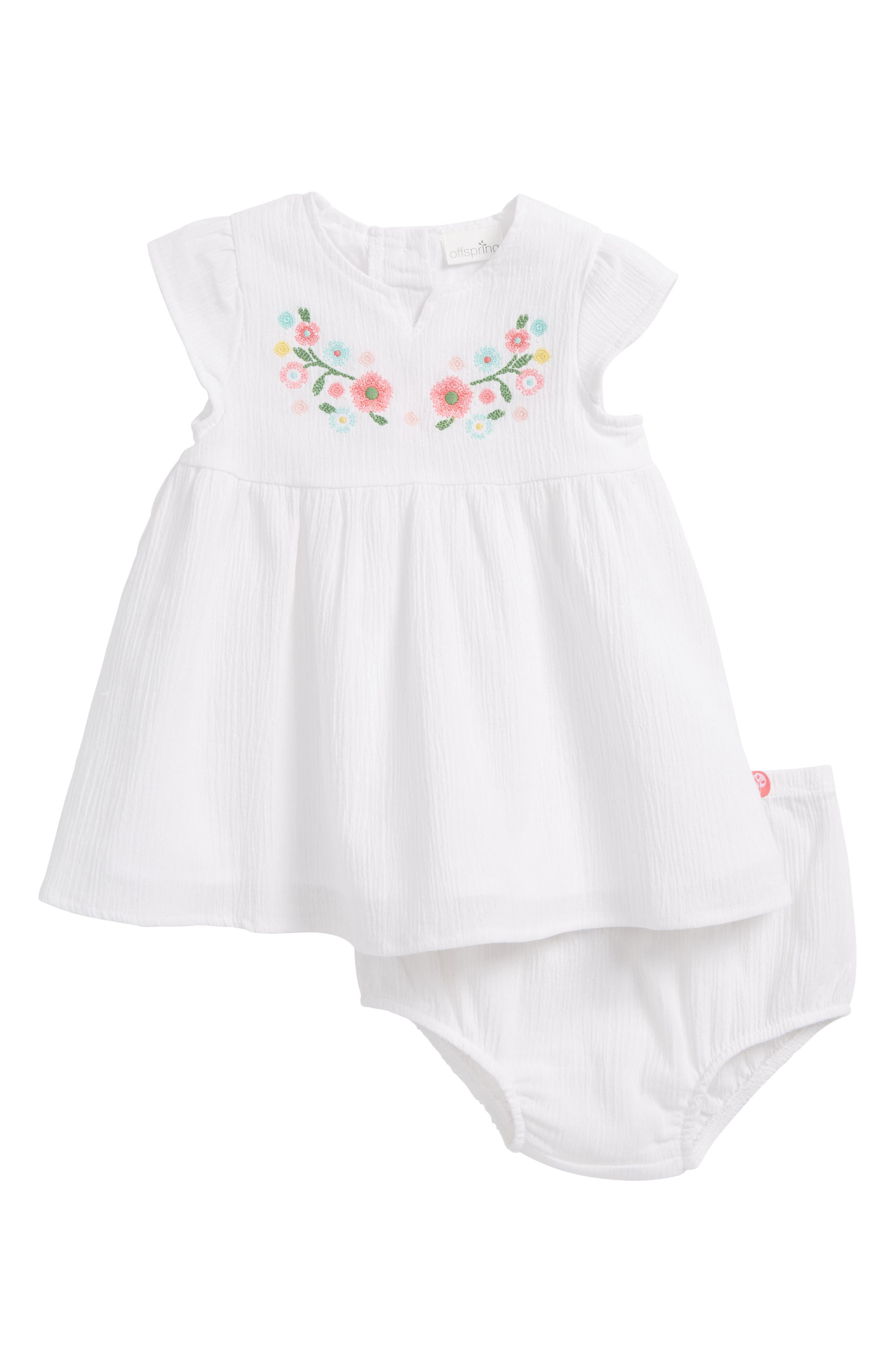 Tropical Crinkle Cotton Dress,                             Main thumbnail 1, color,                             White