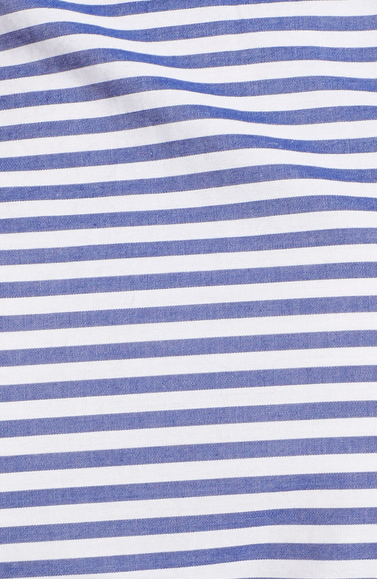 Stripe Ruched Cotton Shirtdress,                             Alternate thumbnail 12, color,                             Blue White Stripe
