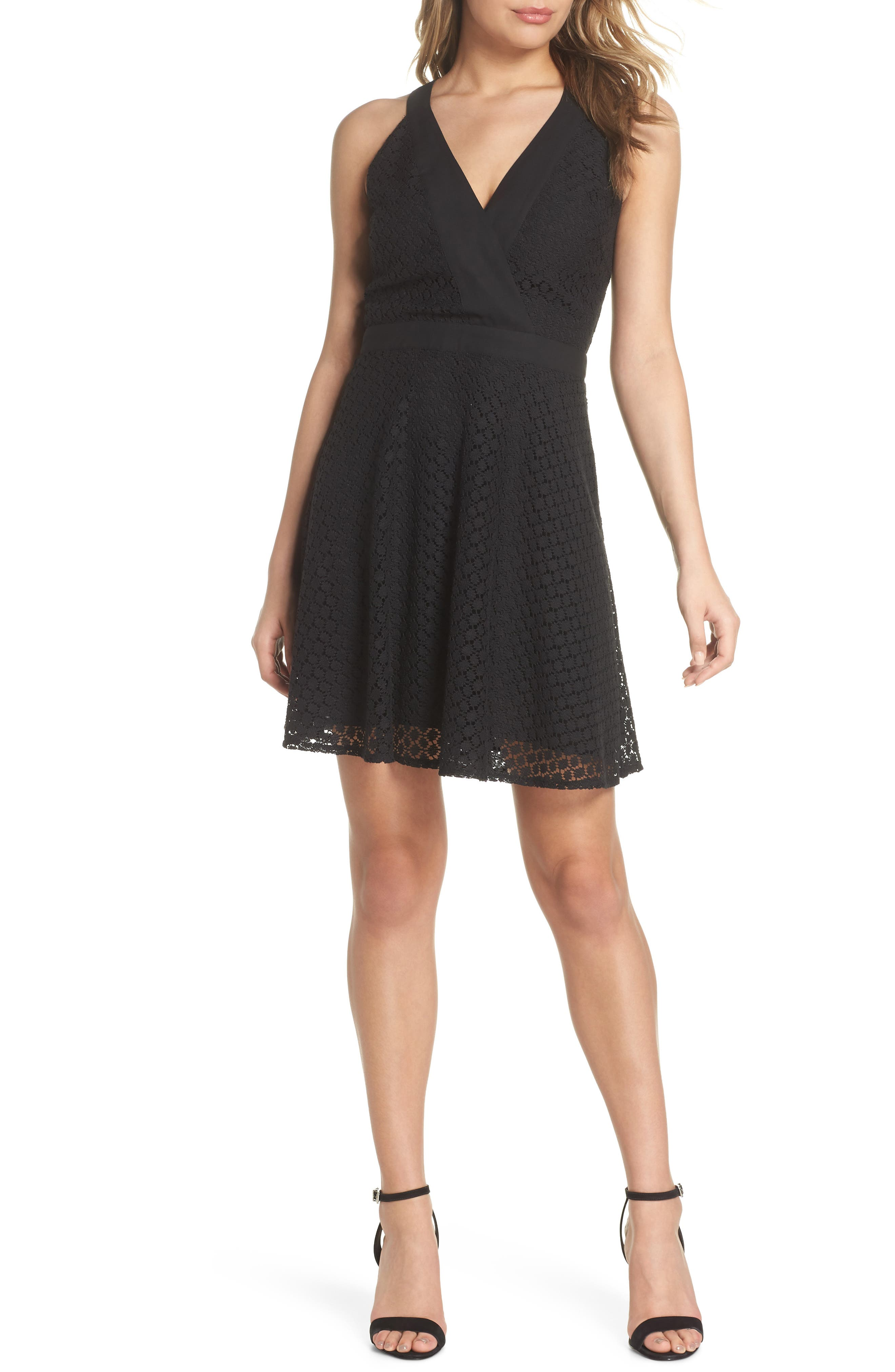 Lace Halter Dress,                             Main thumbnail 1, color,                             Black