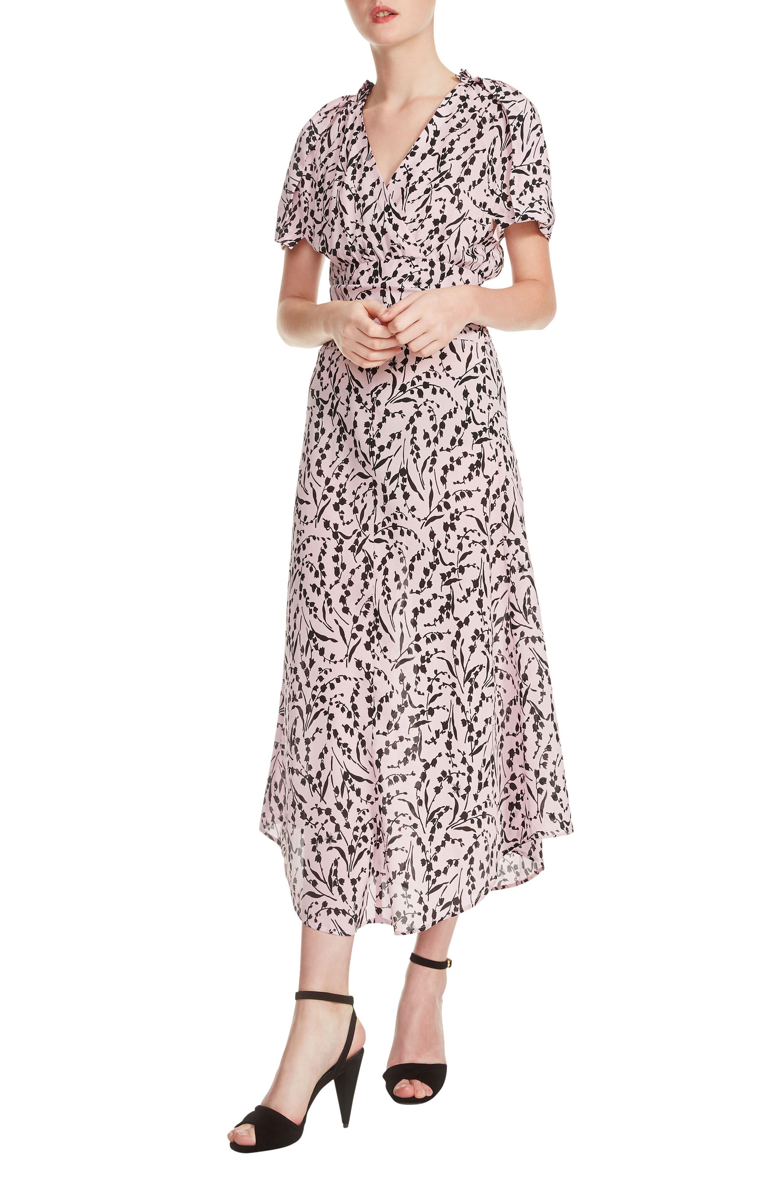 maje Rivara High/Low Floral Surplice Dress