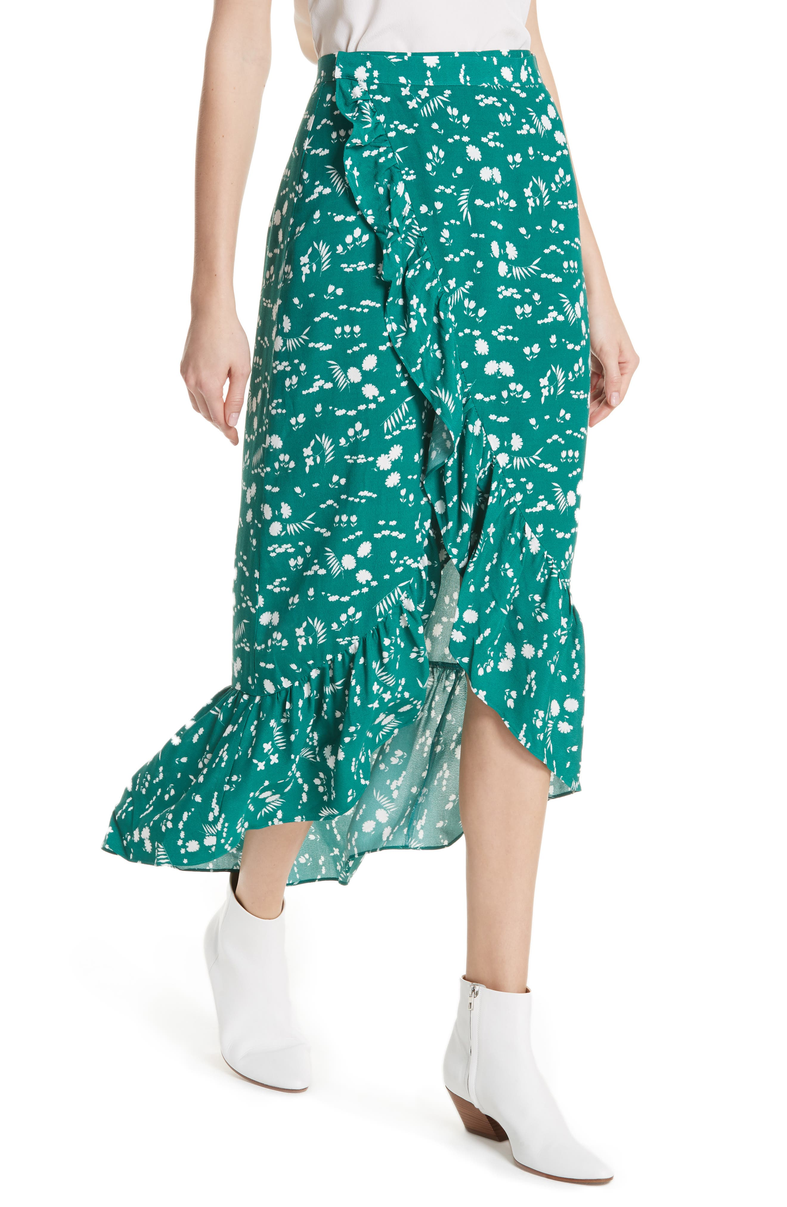 Floral High/Low Wrap Skirt,                             Alternate thumbnail 4, color,                             Imprime