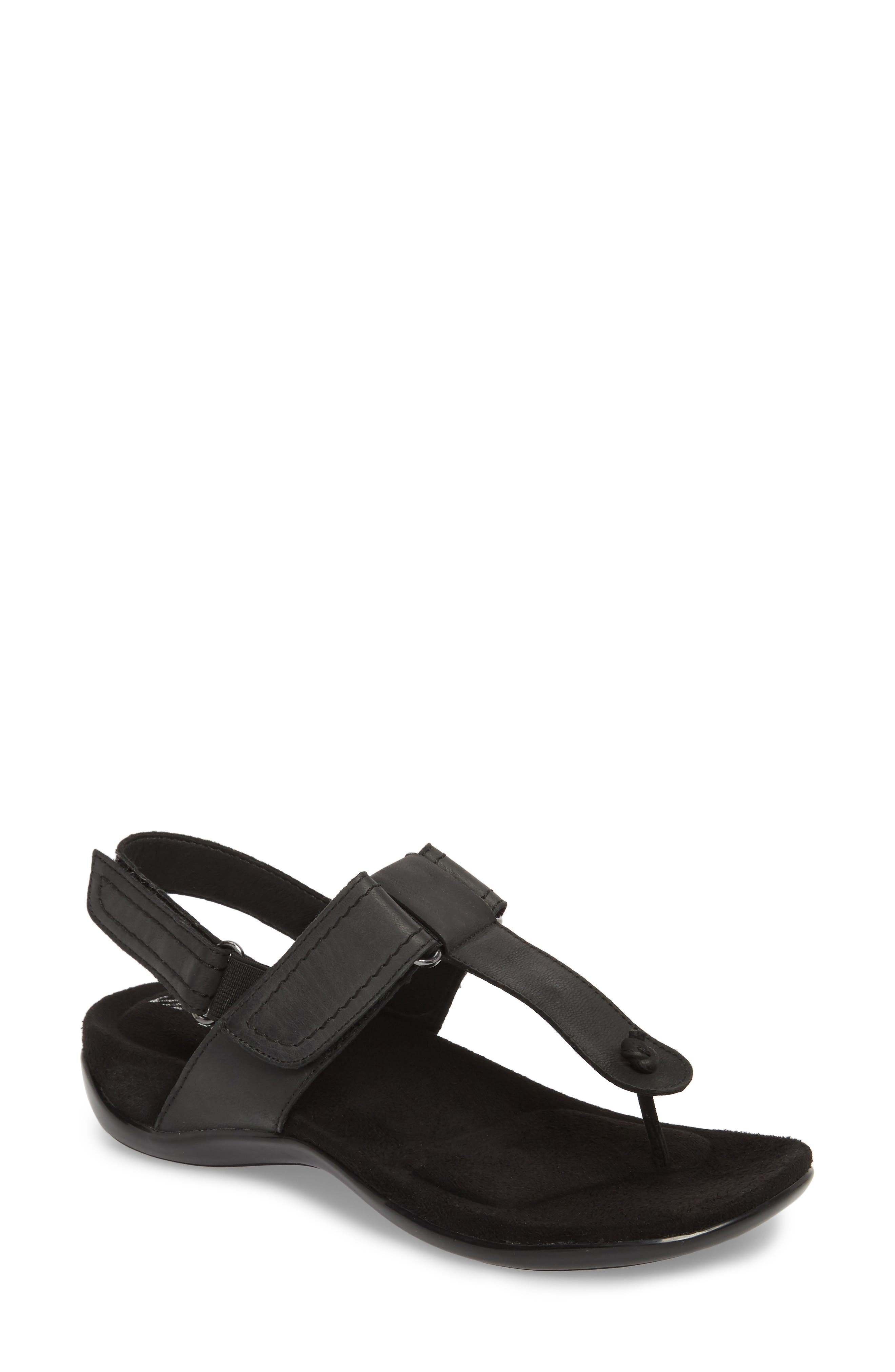 Valley Sandal,                         Main,                         color, Black Leather