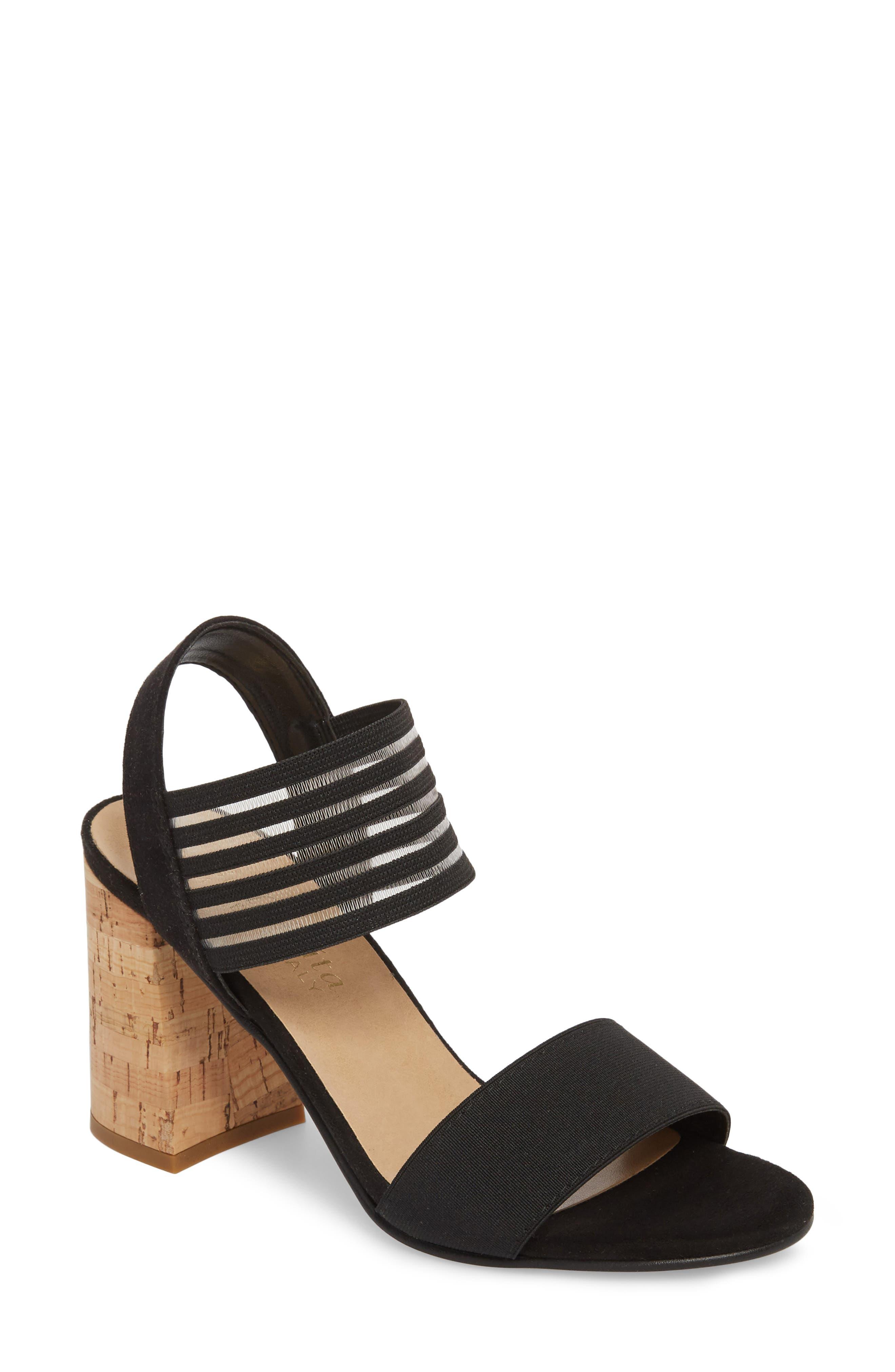 Dan Block Heel Sandal,                             Main thumbnail 1, color,                             Black Leather