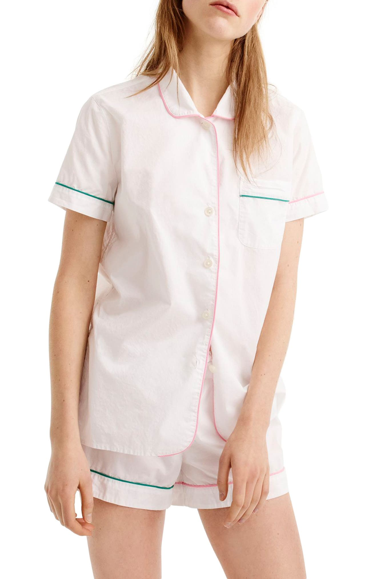 J.Crew Tipped Short Cotton Pajamas,                         Main,                         color, White Pink Green