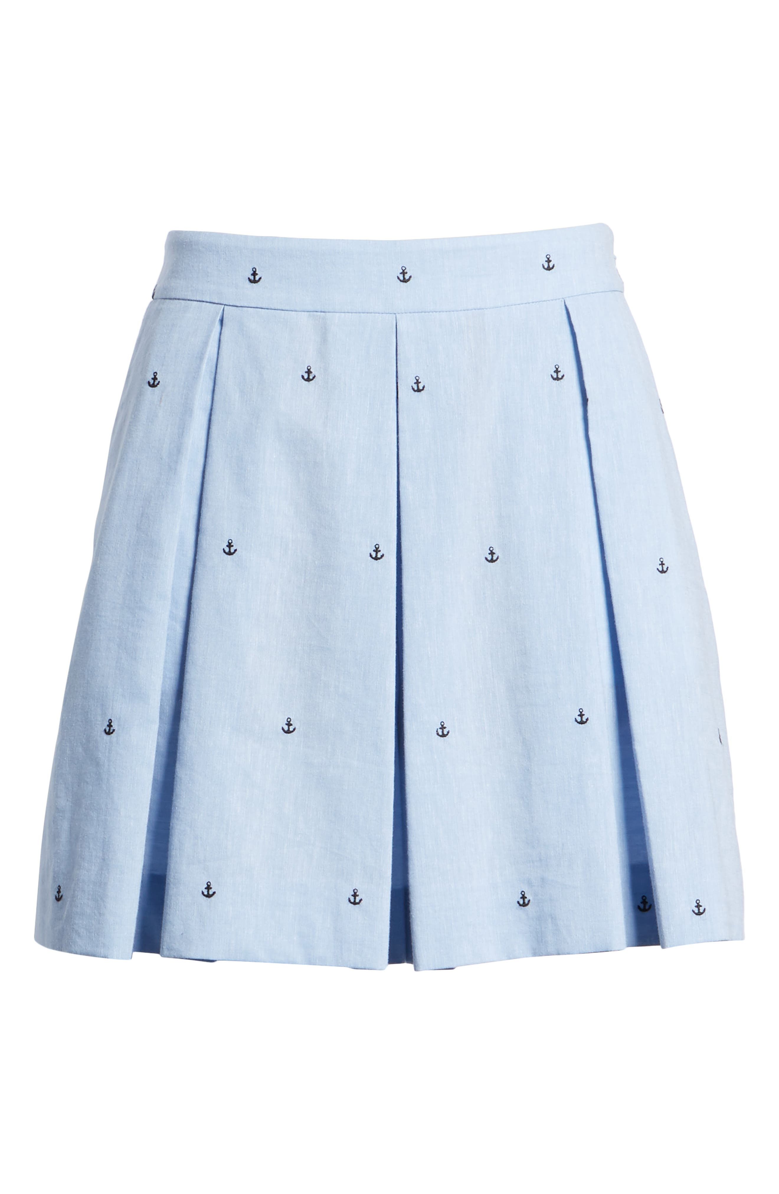 Anchor Embroidery Pleated Cotton Shorts,                             Alternate thumbnail 5, color,                             Chambray Anchor Print