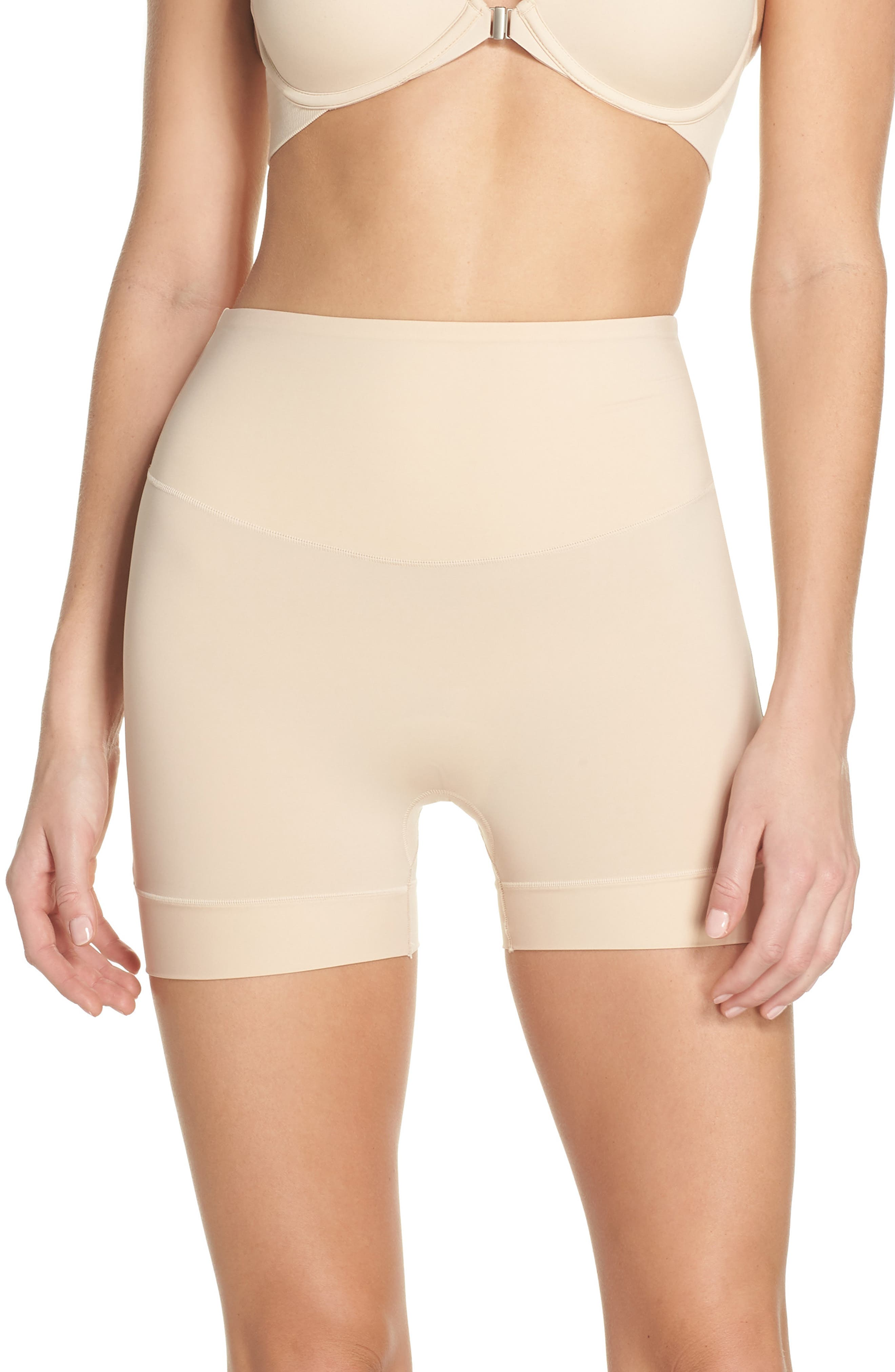 Tummie Tamers Mid Waist Shaping Shorts,                             Main thumbnail 1, color,                             Frappe