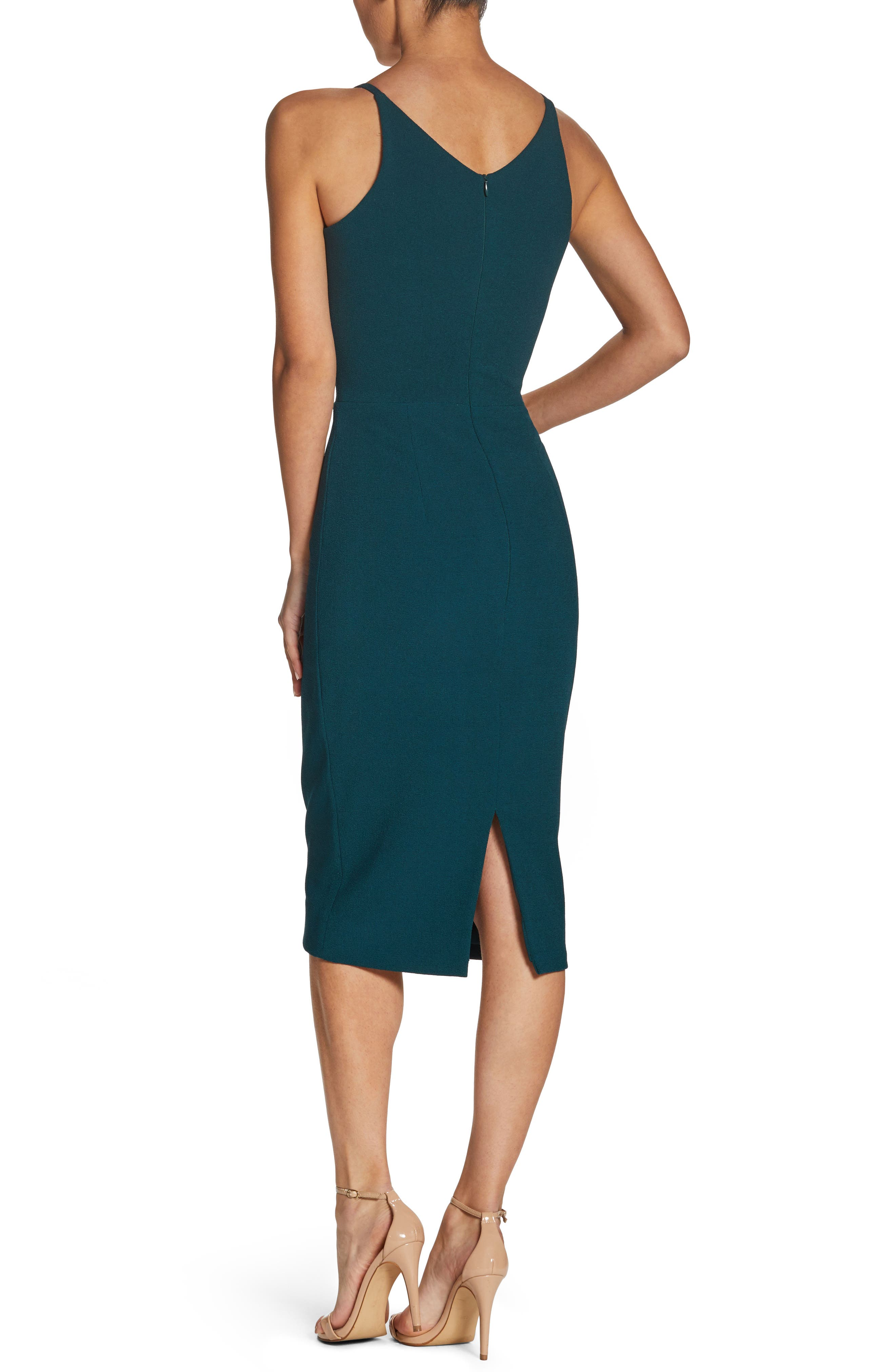 Lyla Crepe Sheath Dress,                             Alternate thumbnail 2, color,                             Pine
