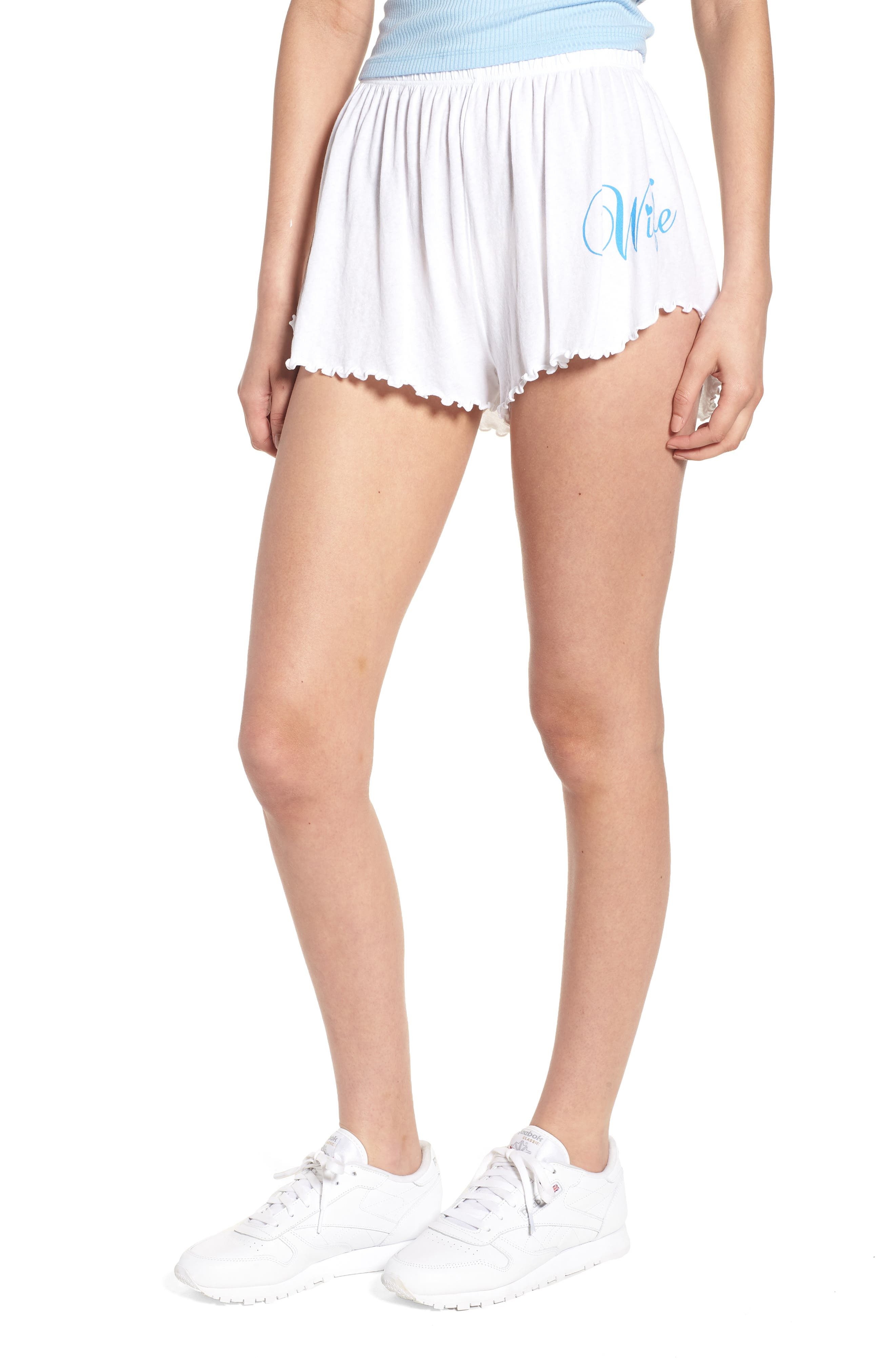 Wife Shorts,                             Main thumbnail 1, color,                             Clean White