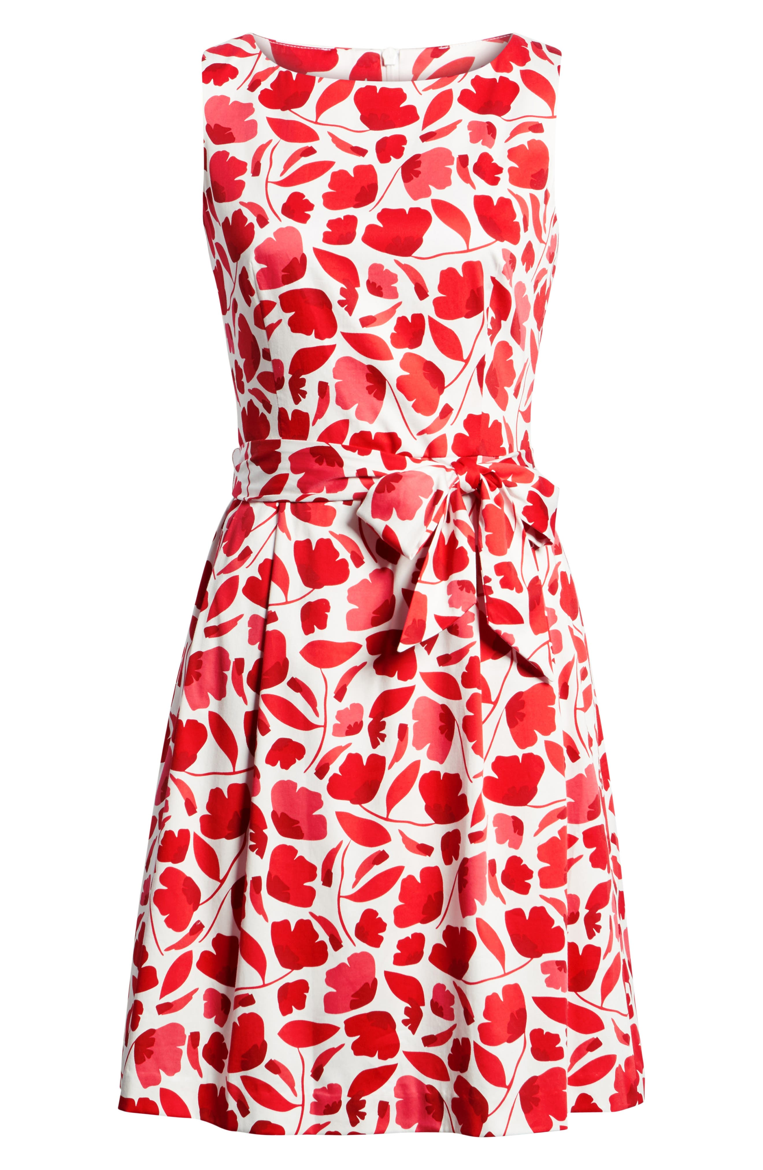 Floral Fit & Flare Dress,                             Alternate thumbnail 6, color,                             Tomato Combo