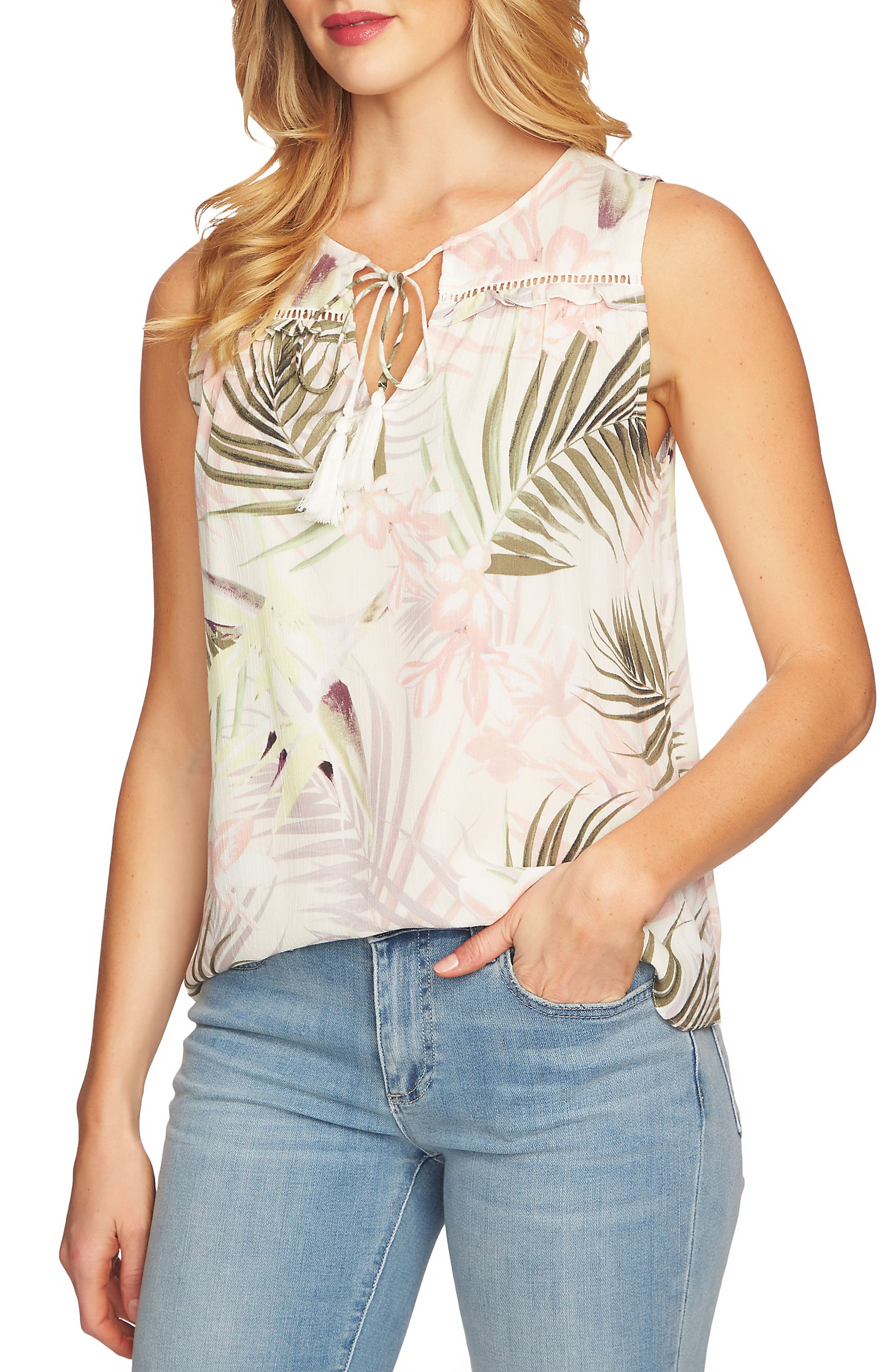 Soft Palms Tie Front Sleeveless Blouse,                         Main,                         color, Antique White