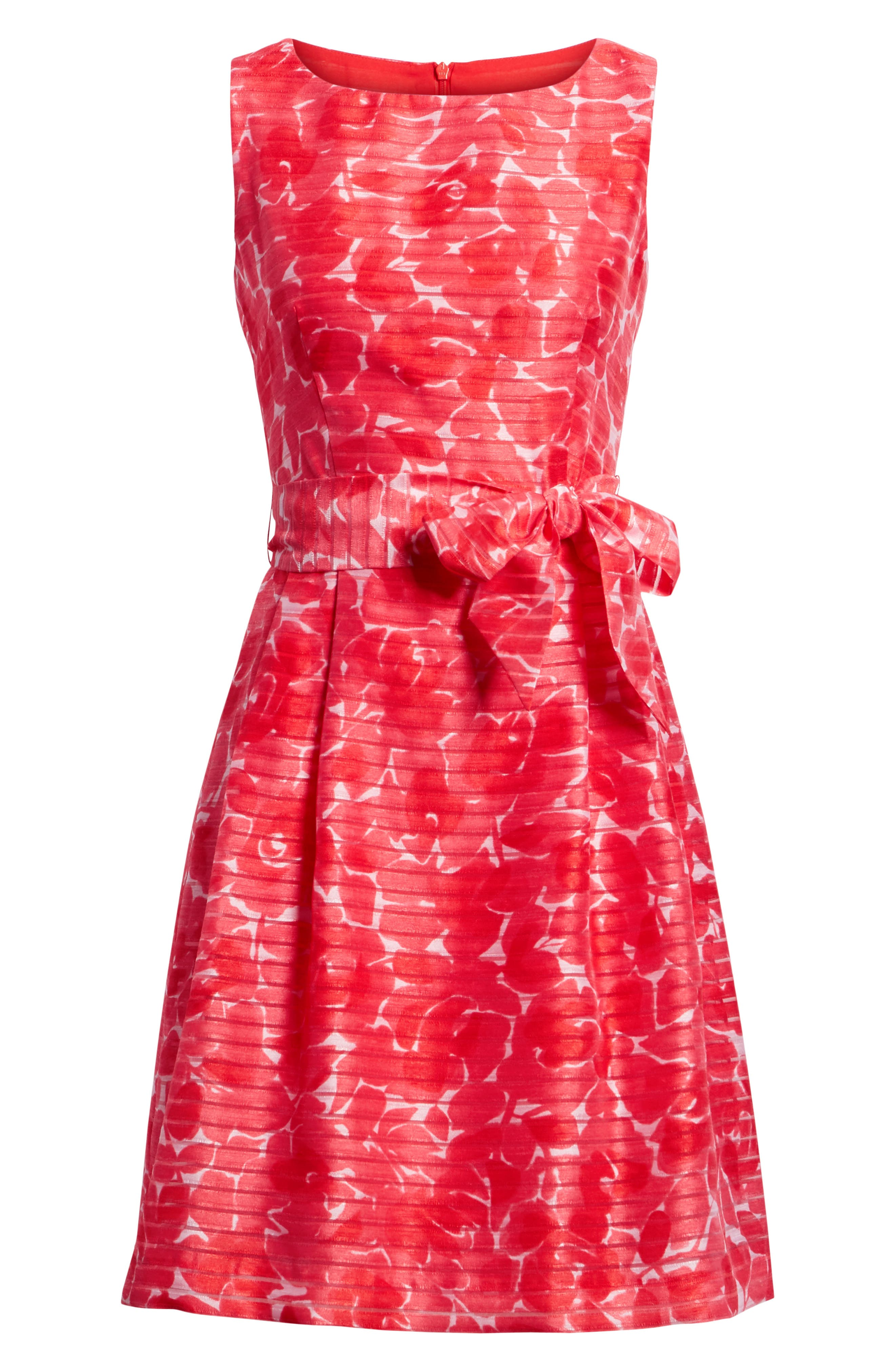 New York Rosewater Shadow Fit & Flare Dress,                             Alternate thumbnail 7, color,                             Tomato Combo