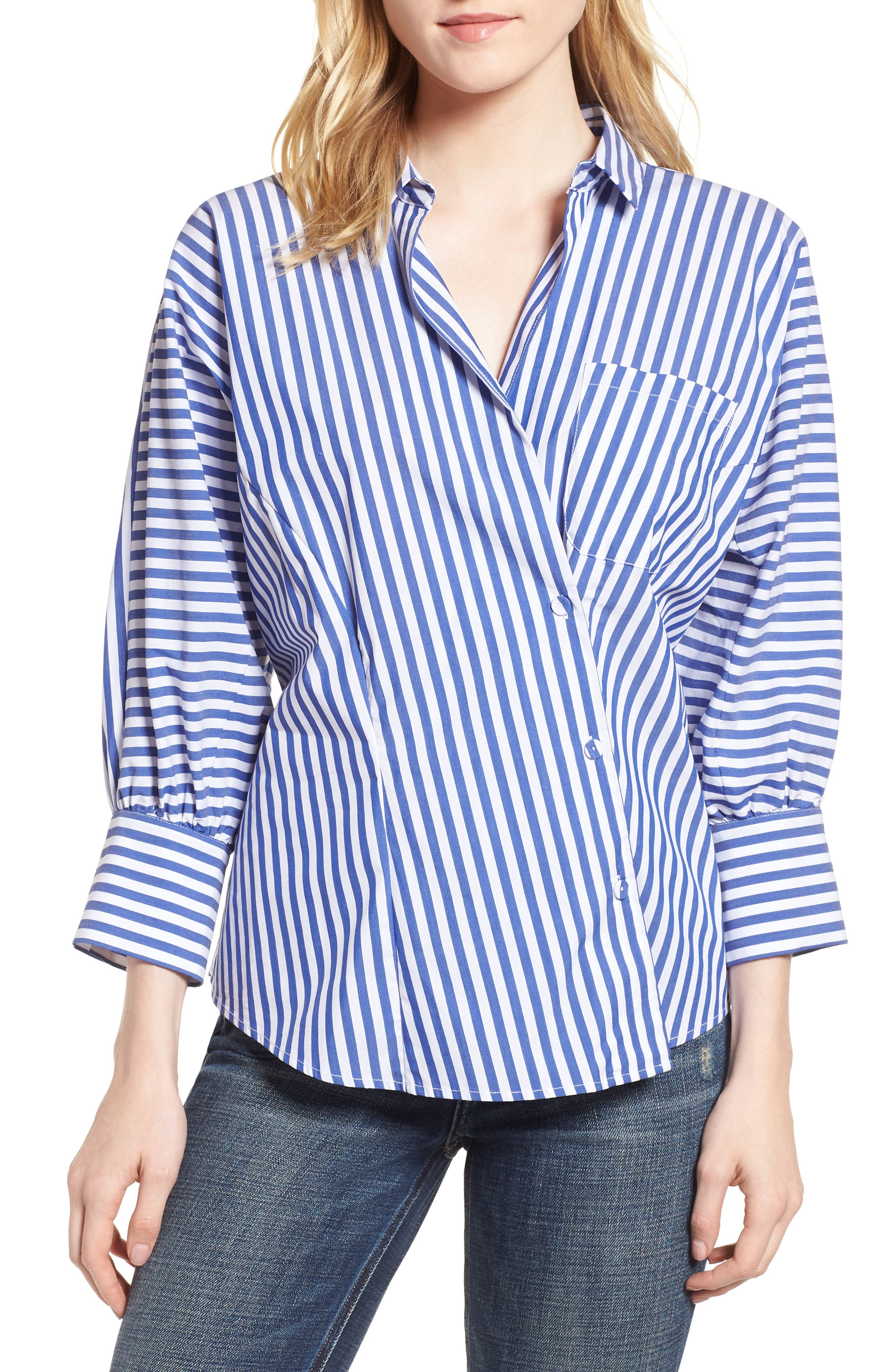 Asymmetrical Stripe Blouse,                             Main thumbnail 1, color,                             Abby Blue/ White