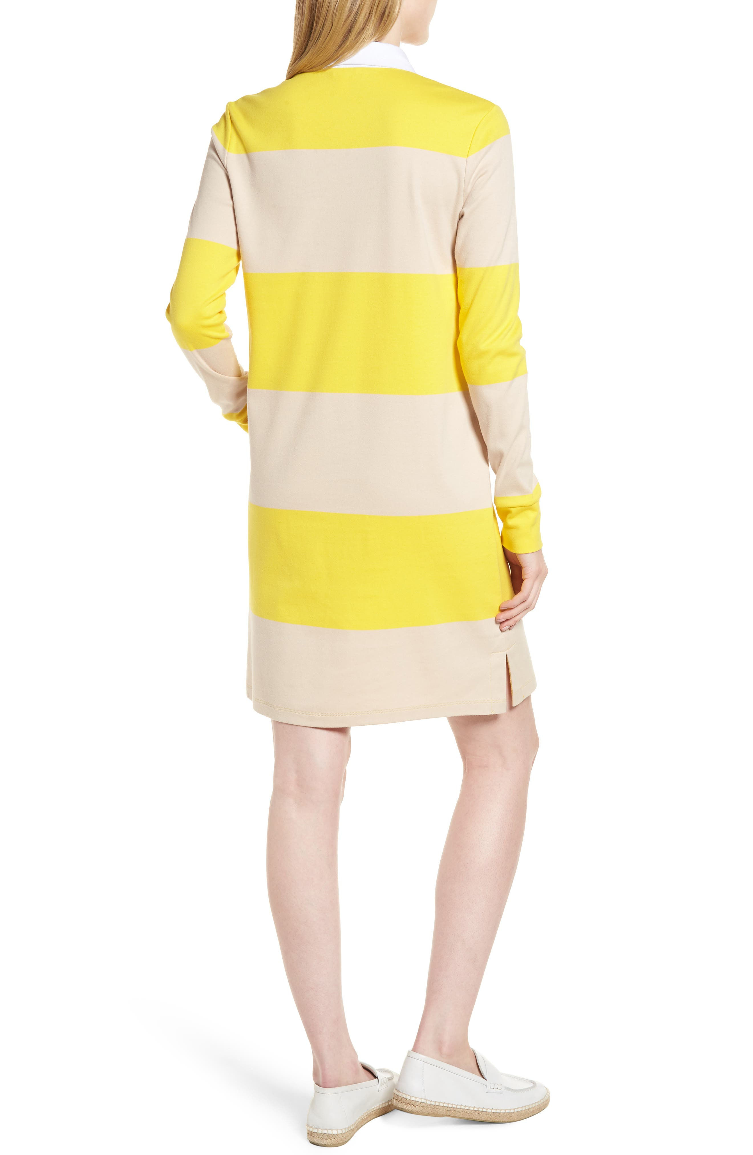 Cotton Rugby Dress,                             Alternate thumbnail 2, color,                             Yellow- Beige Stripe