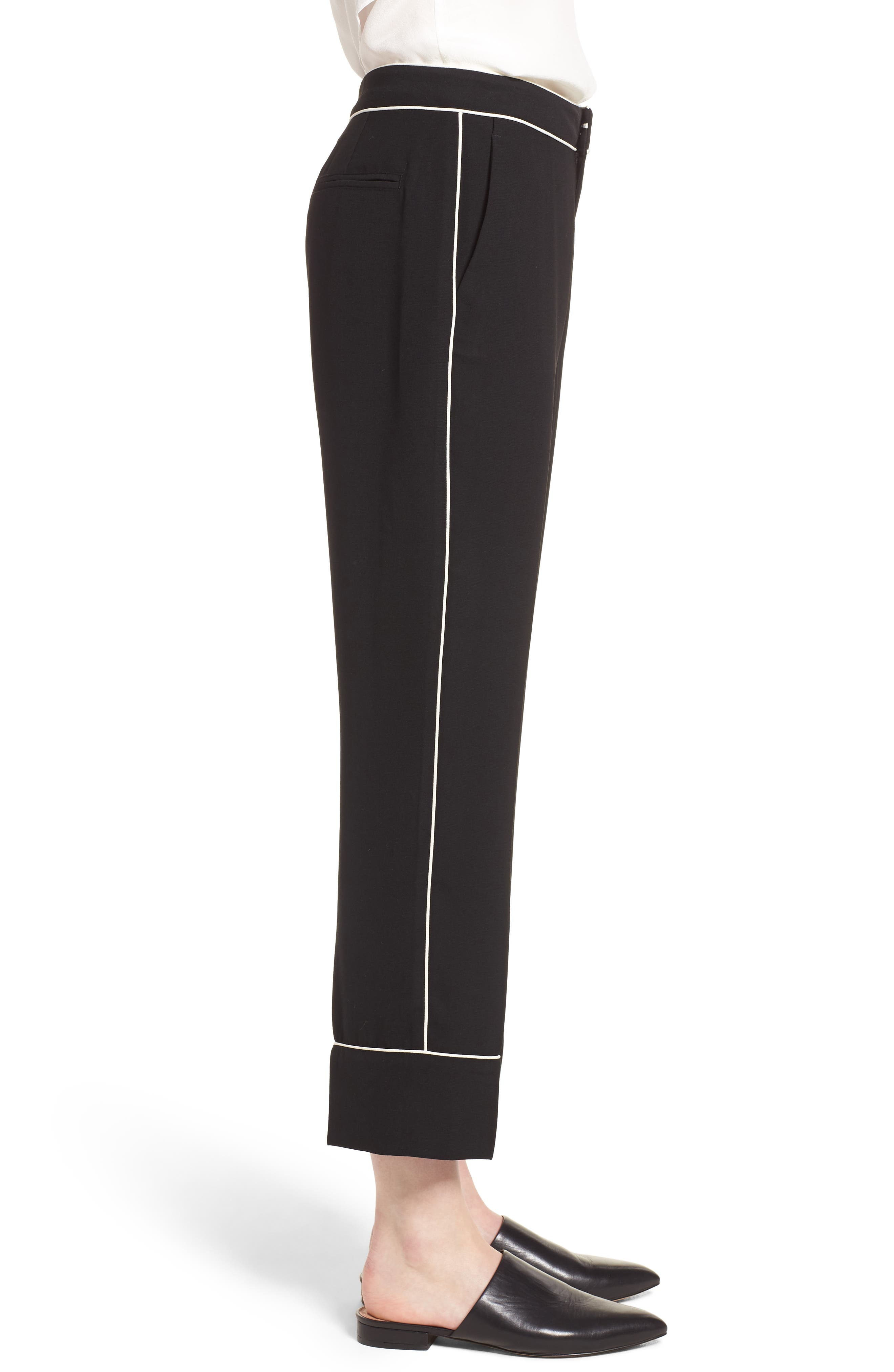 Ankle Pants,                             Alternate thumbnail 3, color,                             Black/ Bright White Piping