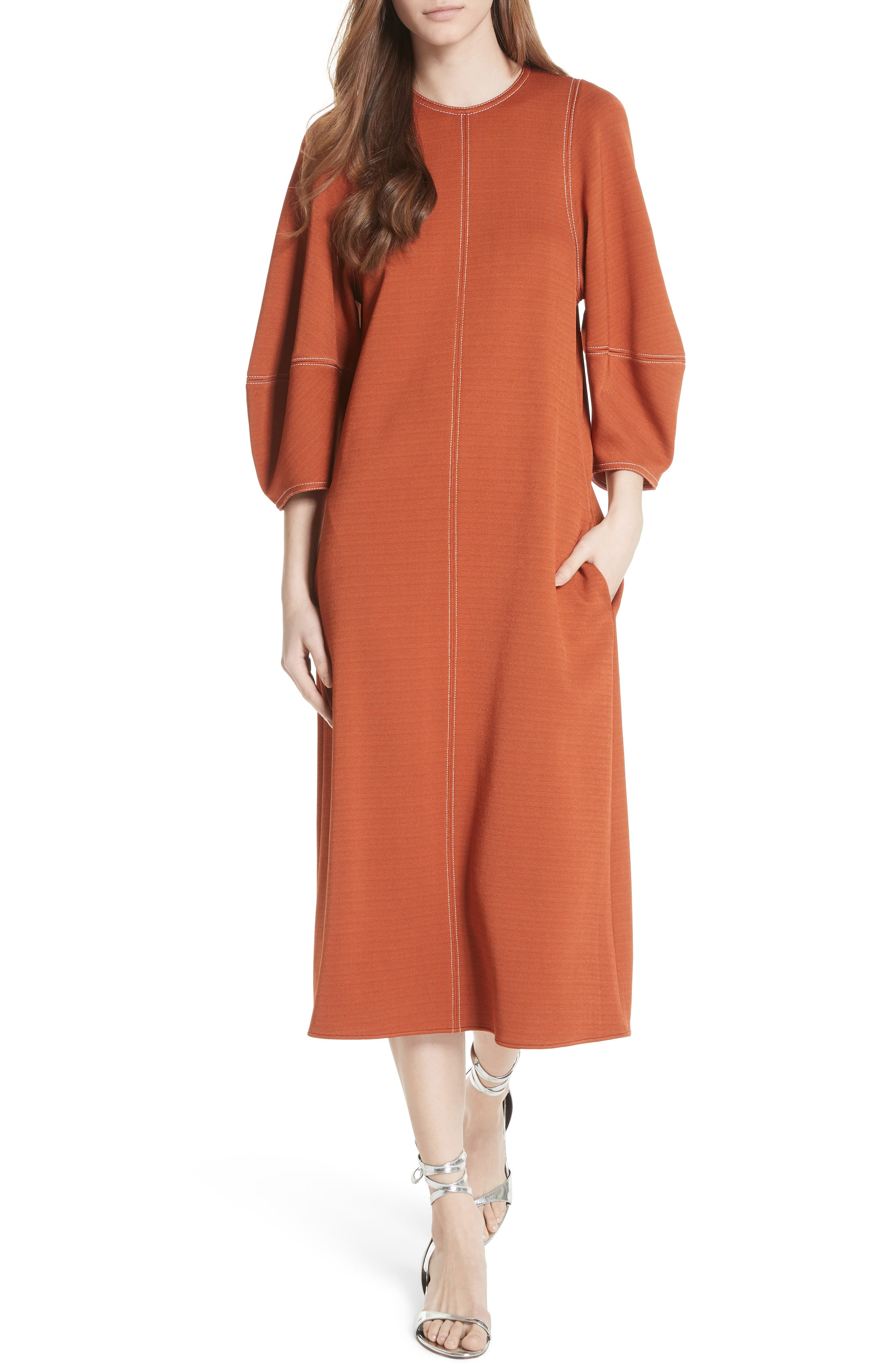 Balloon Sleeve Crepe Knit Midi Dress,                             Main thumbnail 1, color,                             Rust