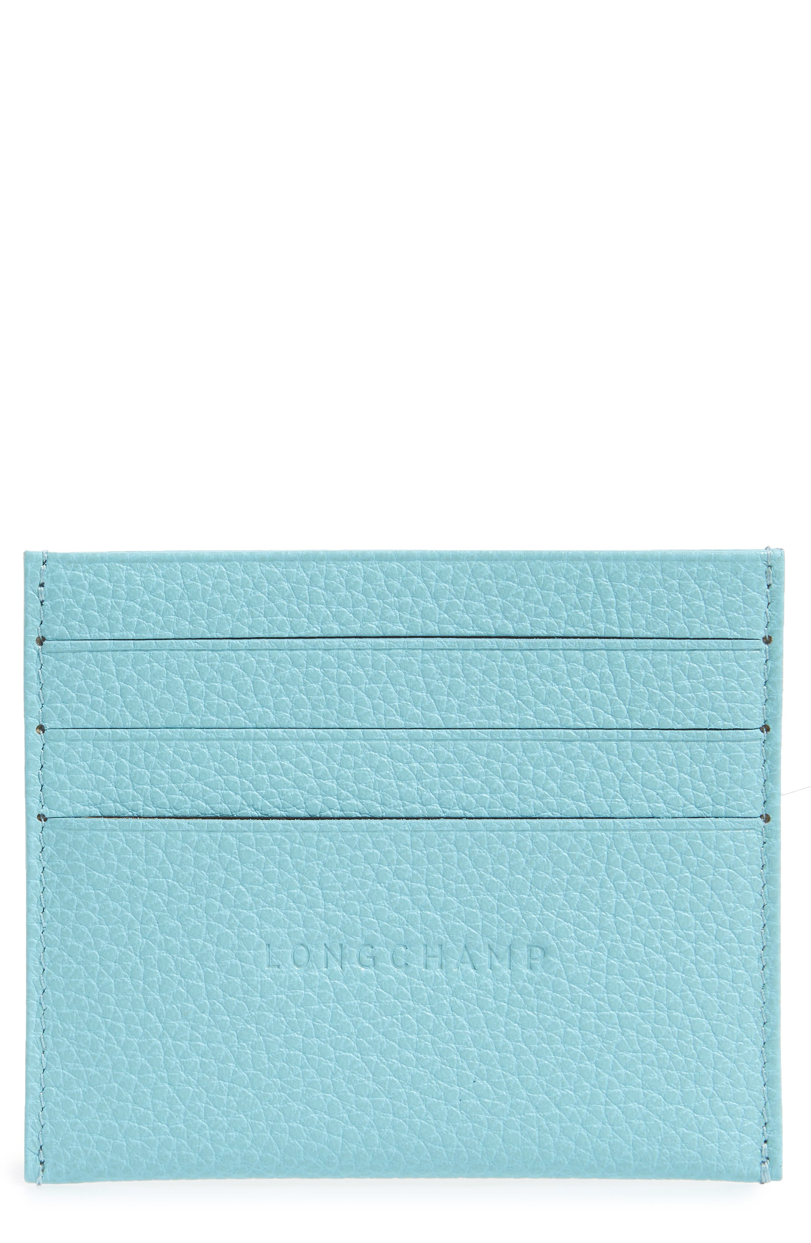 Main Image - Longchamp 'Le Foulonne' Pebbled Leather Card Holder