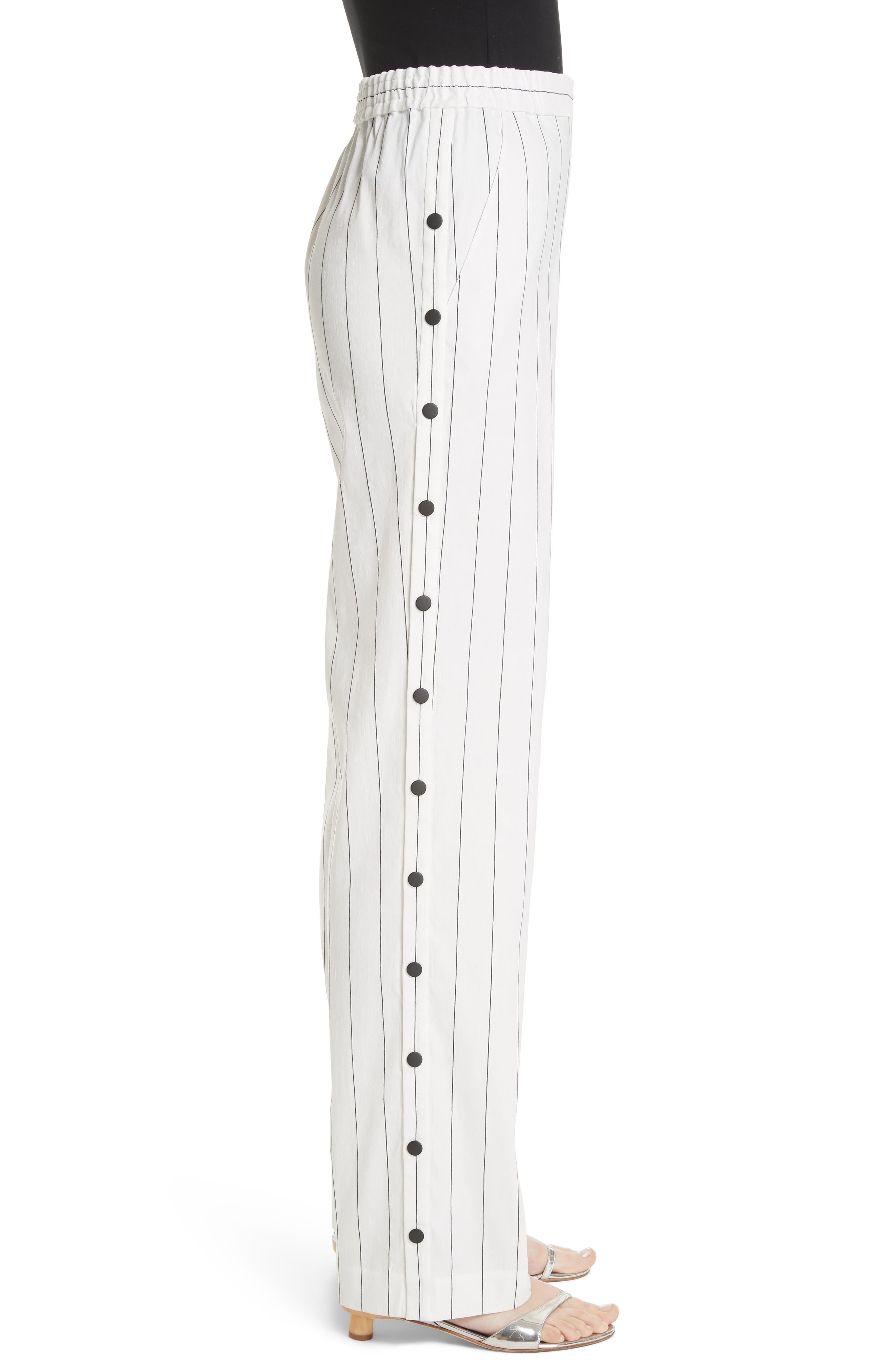 Snap Side Stripe Pants,                             Alternate thumbnail 3, color,                             Ivory Multi