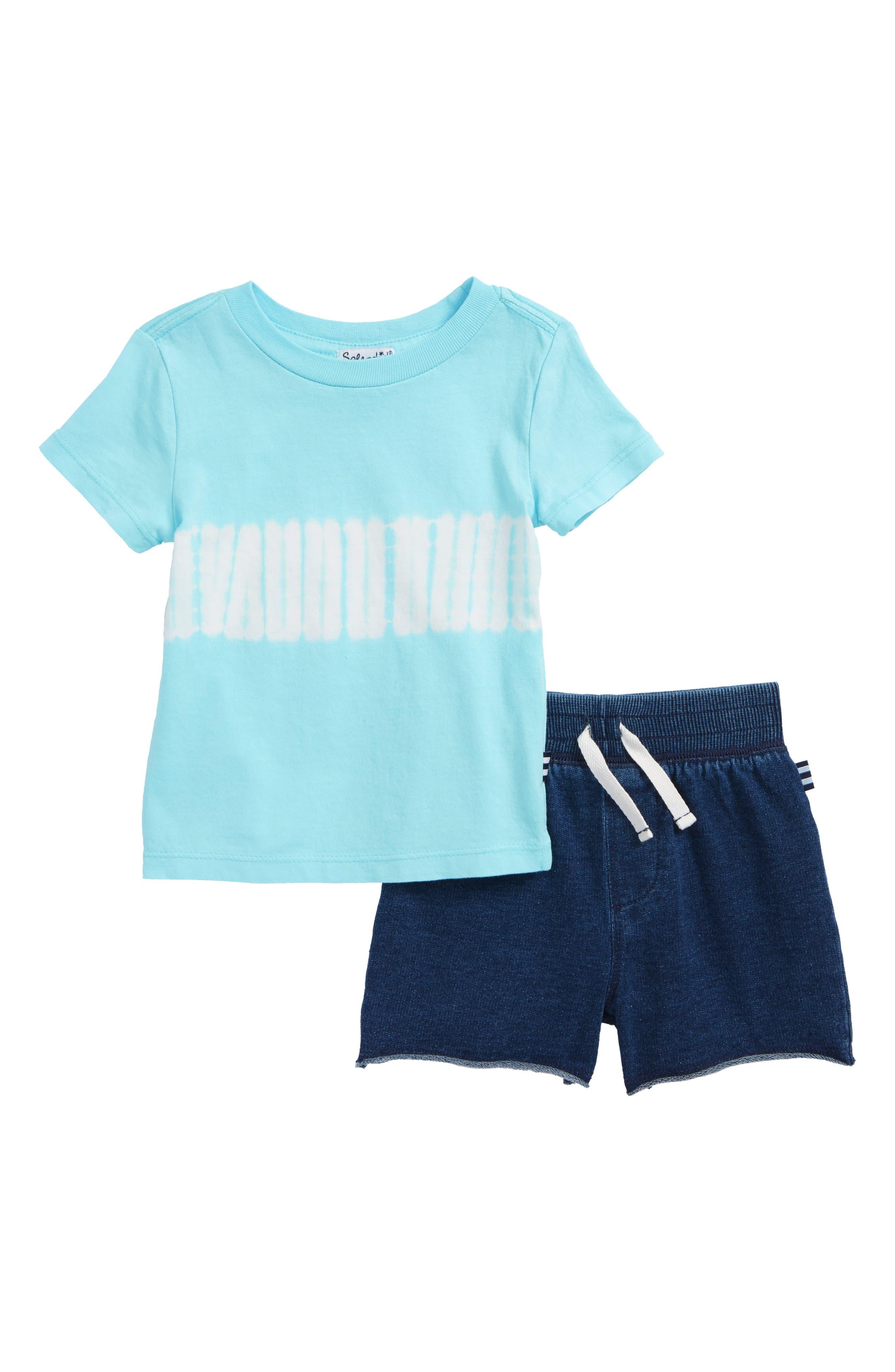 Tie Dye T-Shirt & Shorts Set,                             Main thumbnail 1, color,                             Aqua Haze