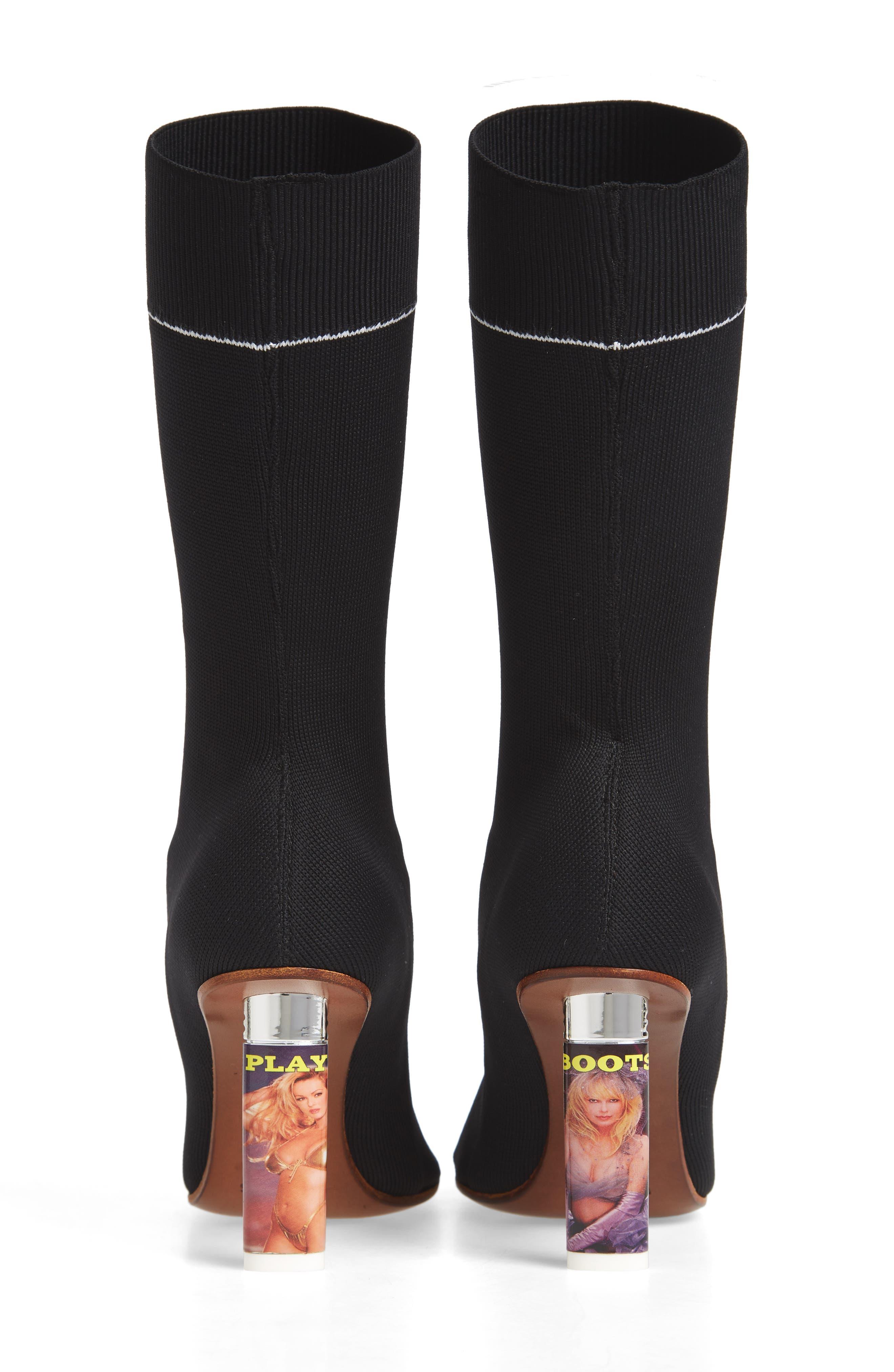 Lighter Sock Boot,                             Alternate thumbnail 7, color,                             Black/Printed Heel