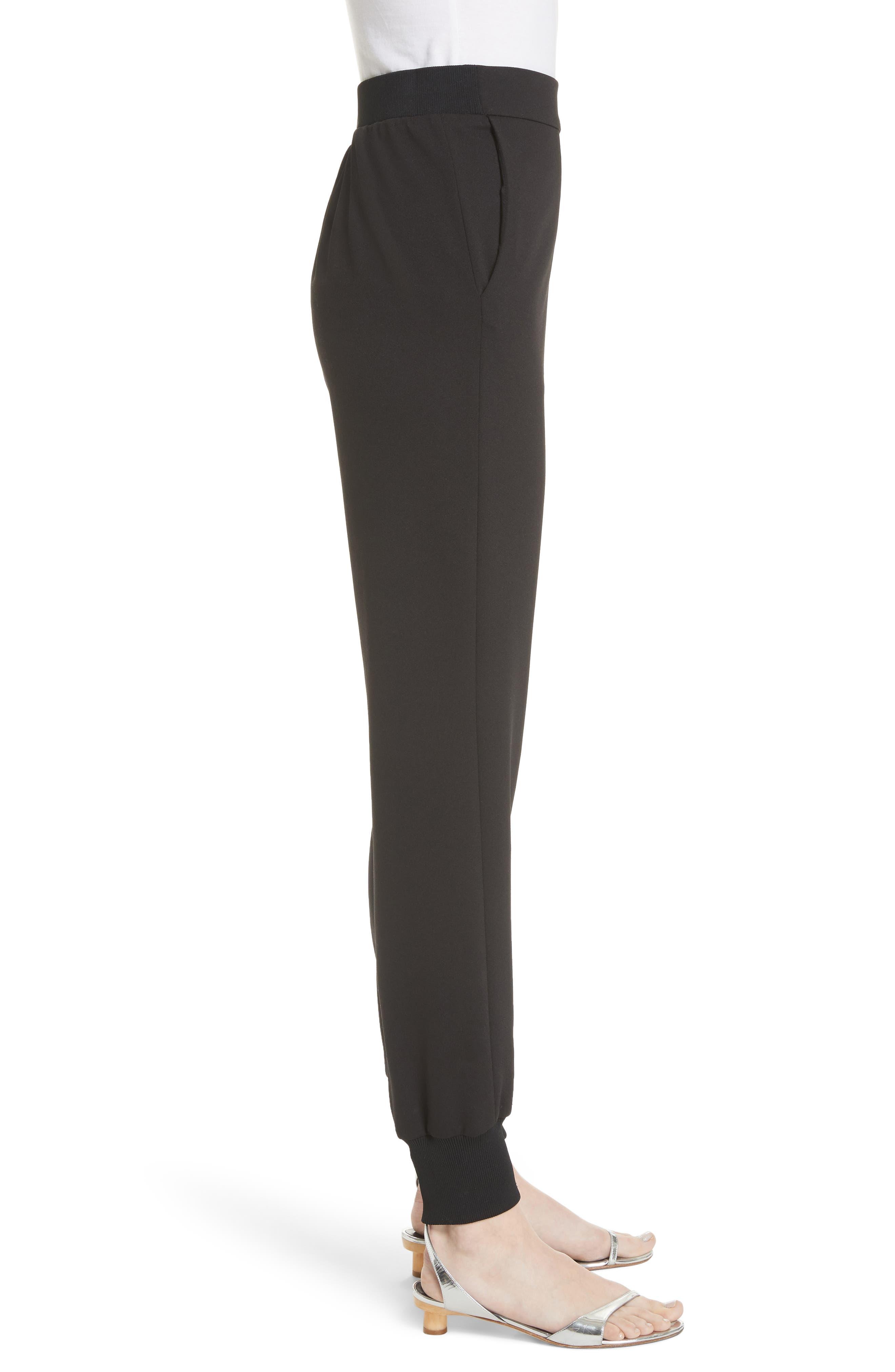 Structured Crepe Jogger Pants,                             Alternate thumbnail 3, color,                             Black