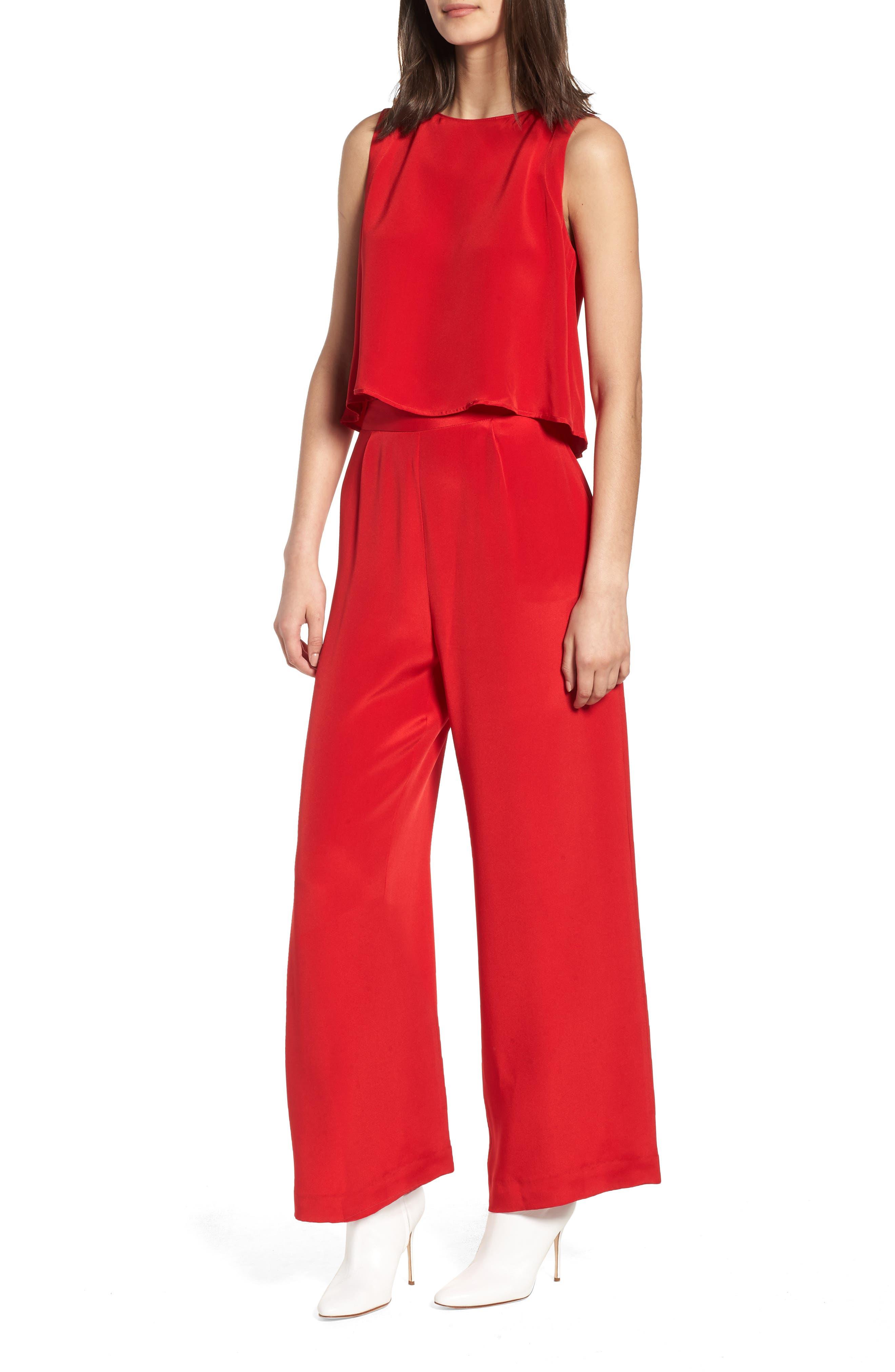 Urban Silky Top & Pants,                             Main thumbnail 1, color,                             Red