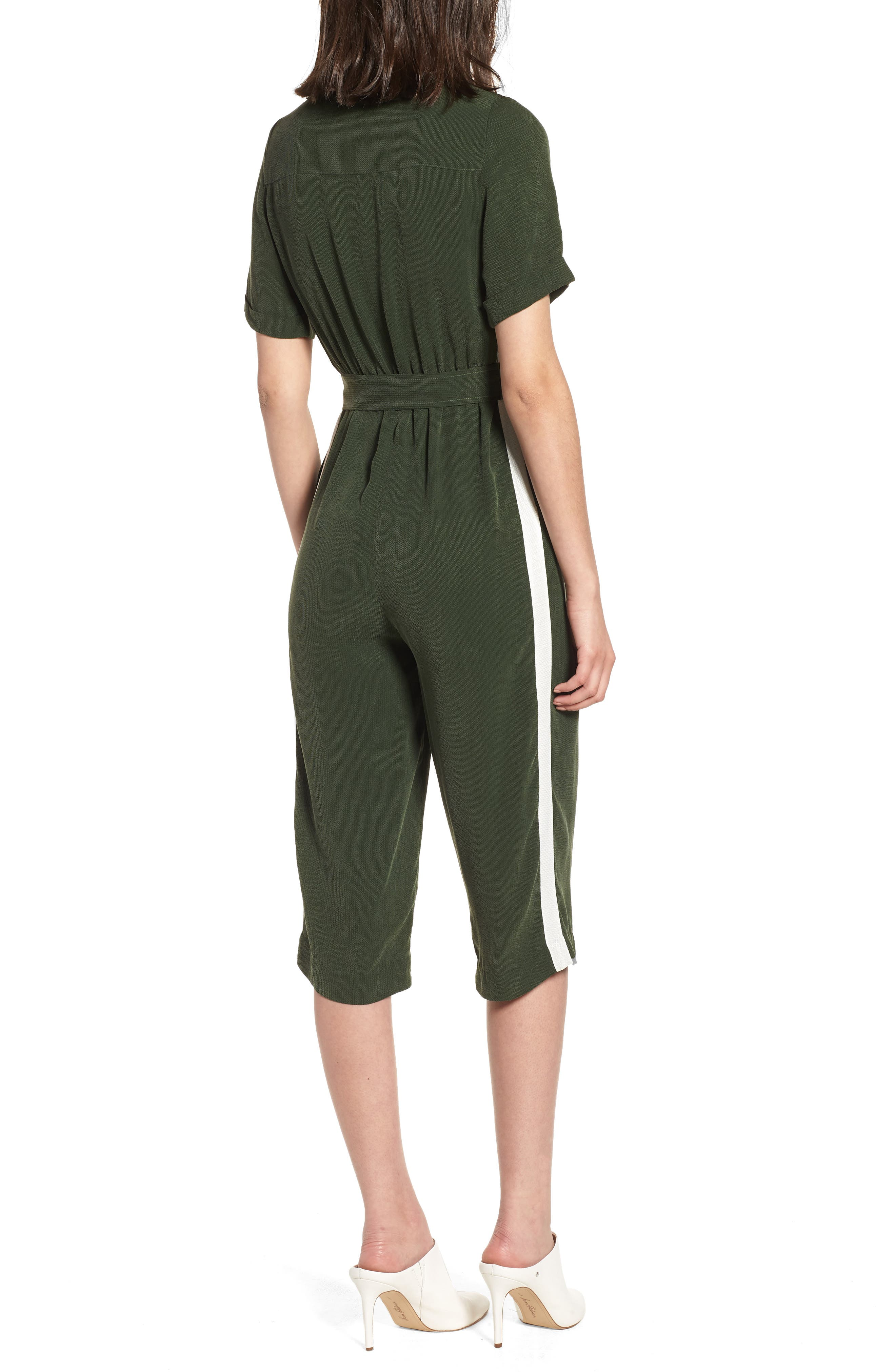 Downstairs Crop Jumpsuit,                             Alternate thumbnail 2, color,                             Green