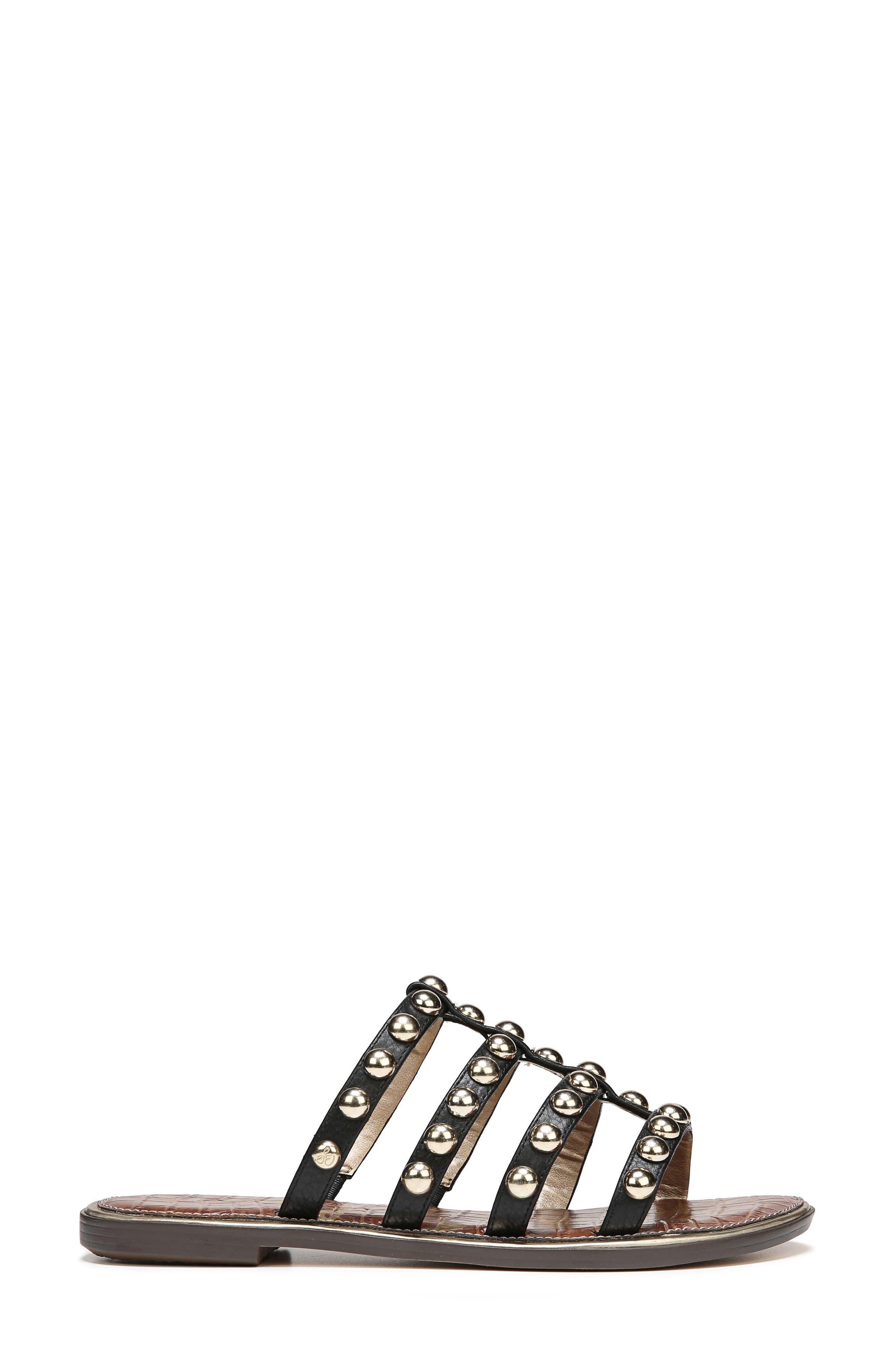 Glenn Studded Slide Sandal,                             Alternate thumbnail 3, color,                             Black Leather