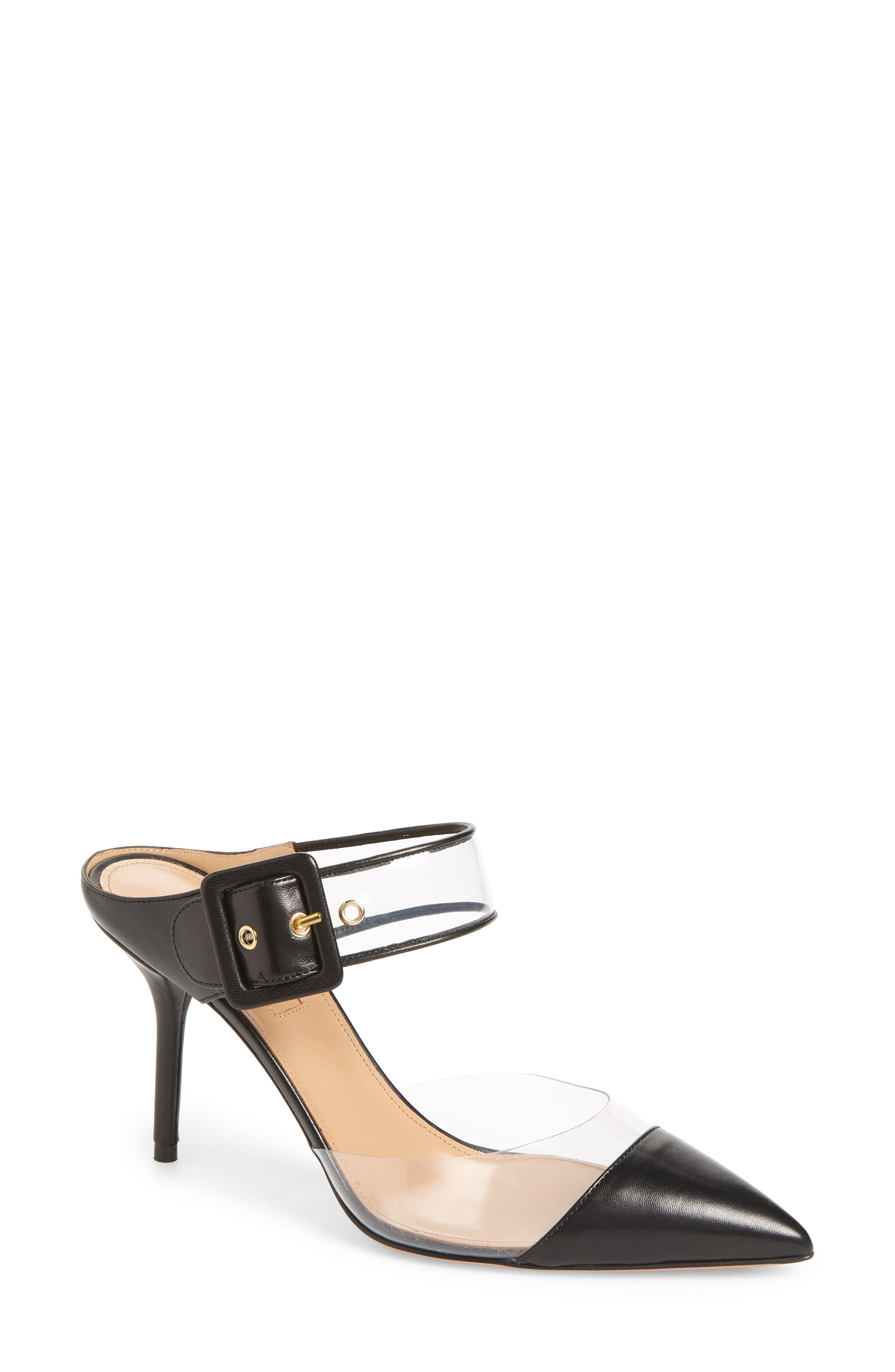 Optic Clear Pointy Toe Mule,                         Main,                         color, Black
