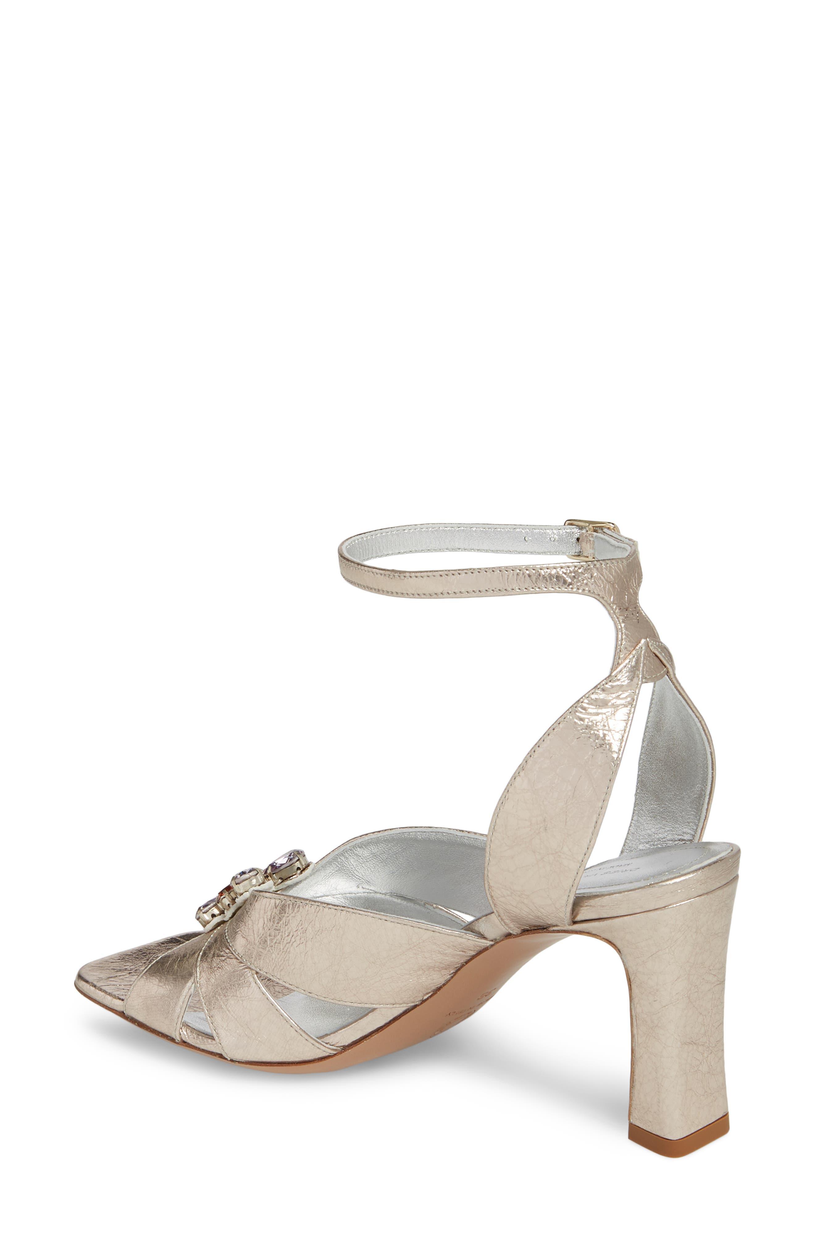 Metallic Brooch Sandal,                             Alternate thumbnail 2, color,                             Silver