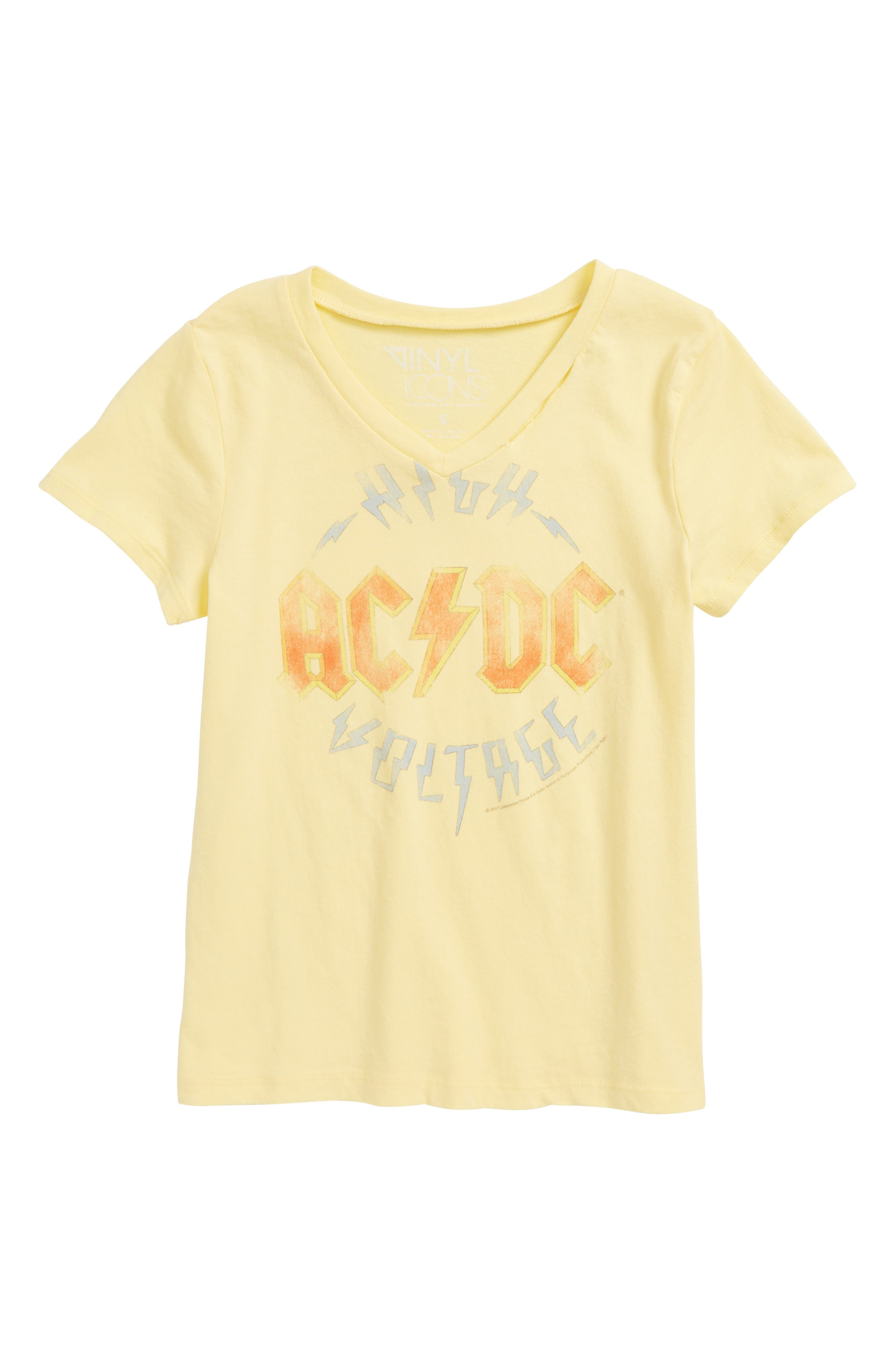 AC/DC Graphic Tee,                             Main thumbnail 1, color,                             Yellow