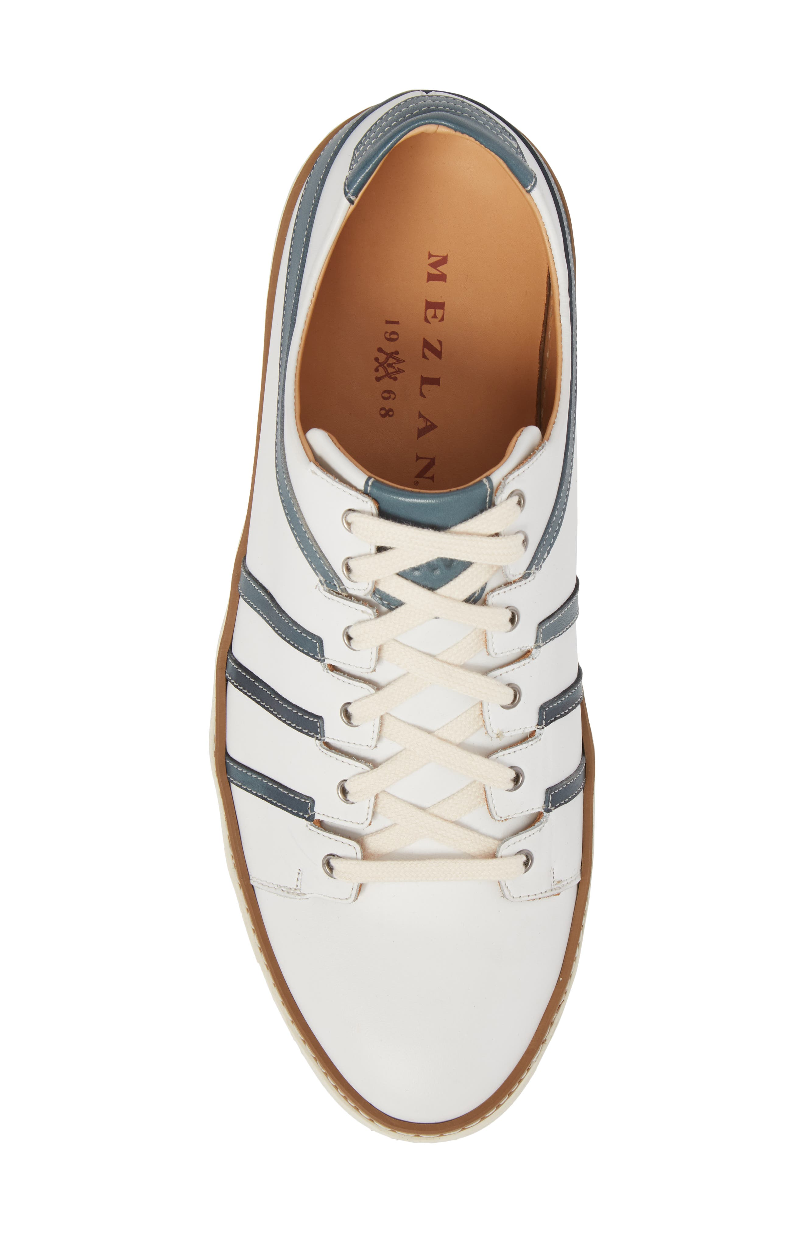 Tebas Striped Low Top Sneaker,                             Alternate thumbnail 5, color,                             White/ Jeans Leather