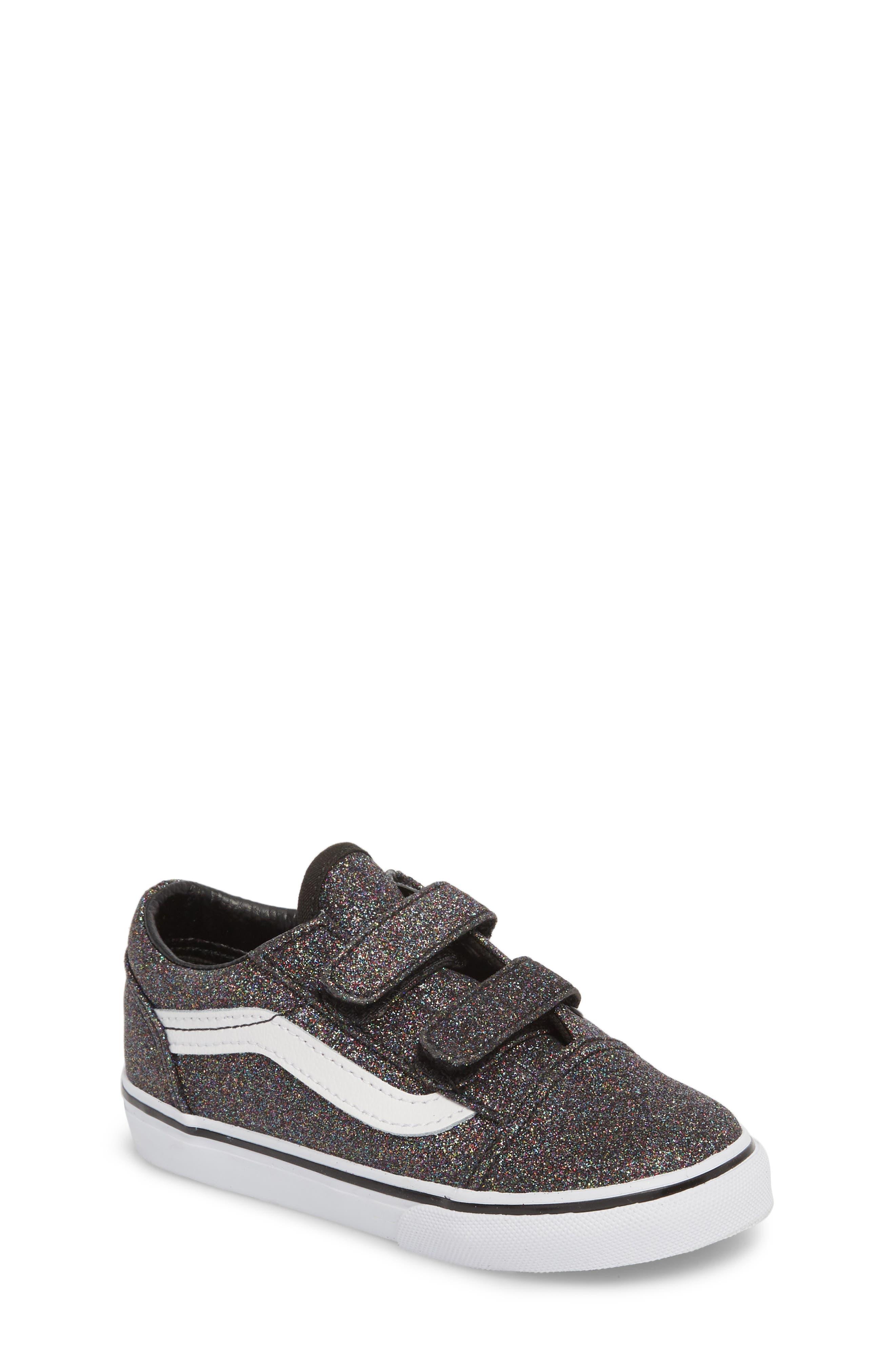 Vans Old Skool V Glitter Sneaker (Baby, Walker & Toddler)
