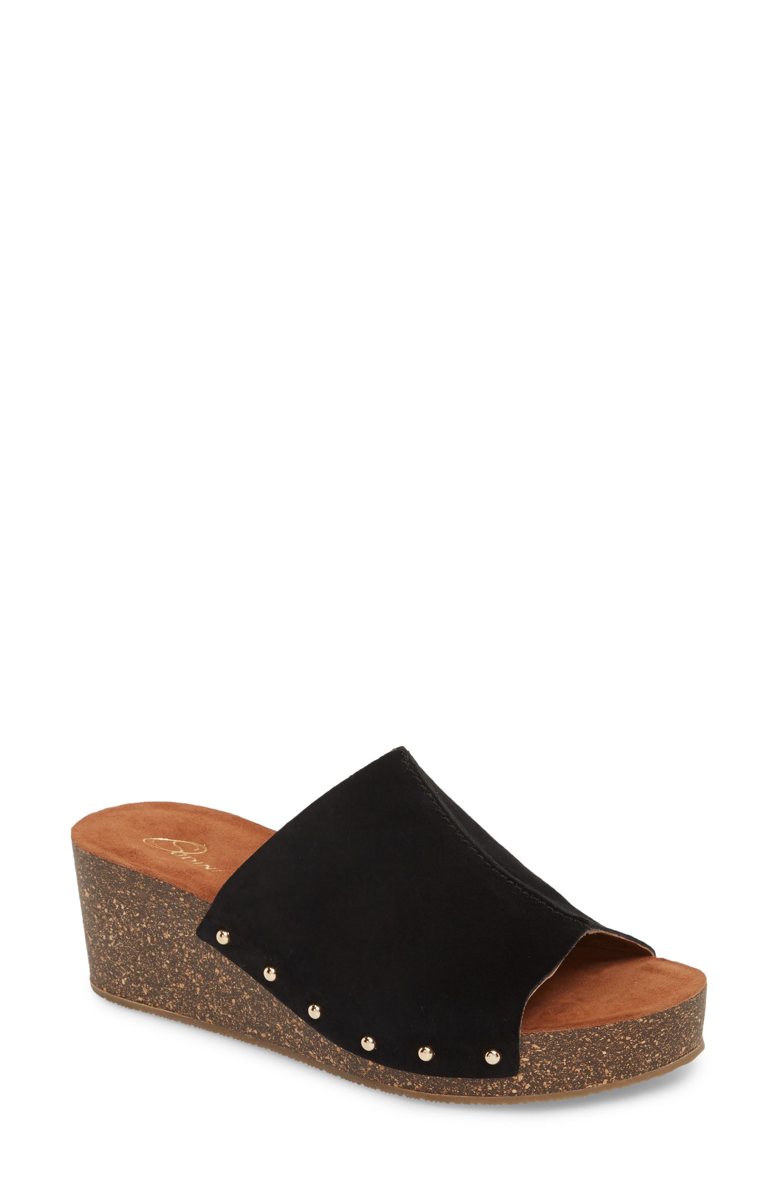 Pavia Wedge Mule,                             Main thumbnail 1, color,                             Black Leather