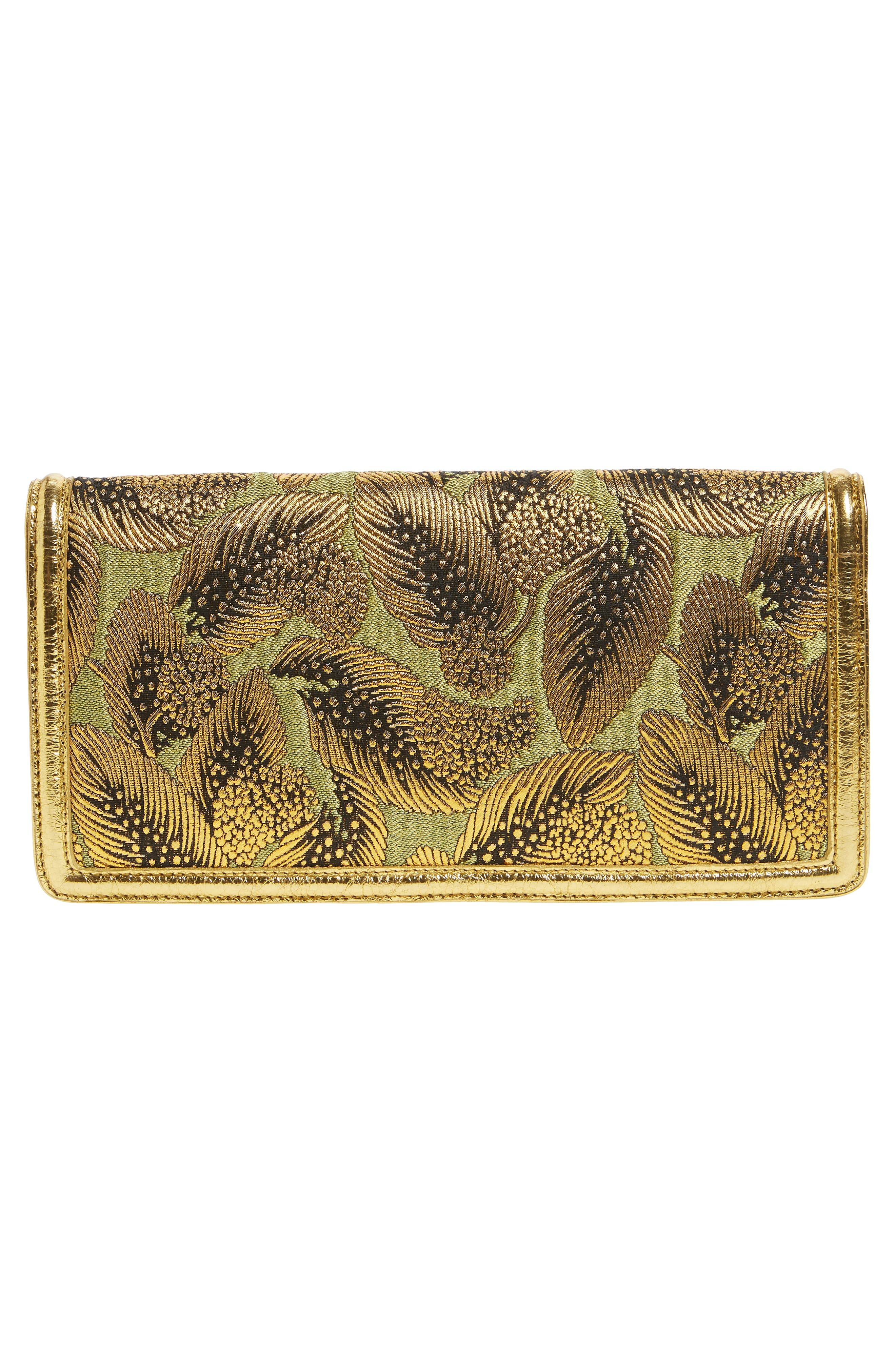 Elongated Metallic Feather Envelope Clutch,                             Alternate thumbnail 3, color,                             Gold