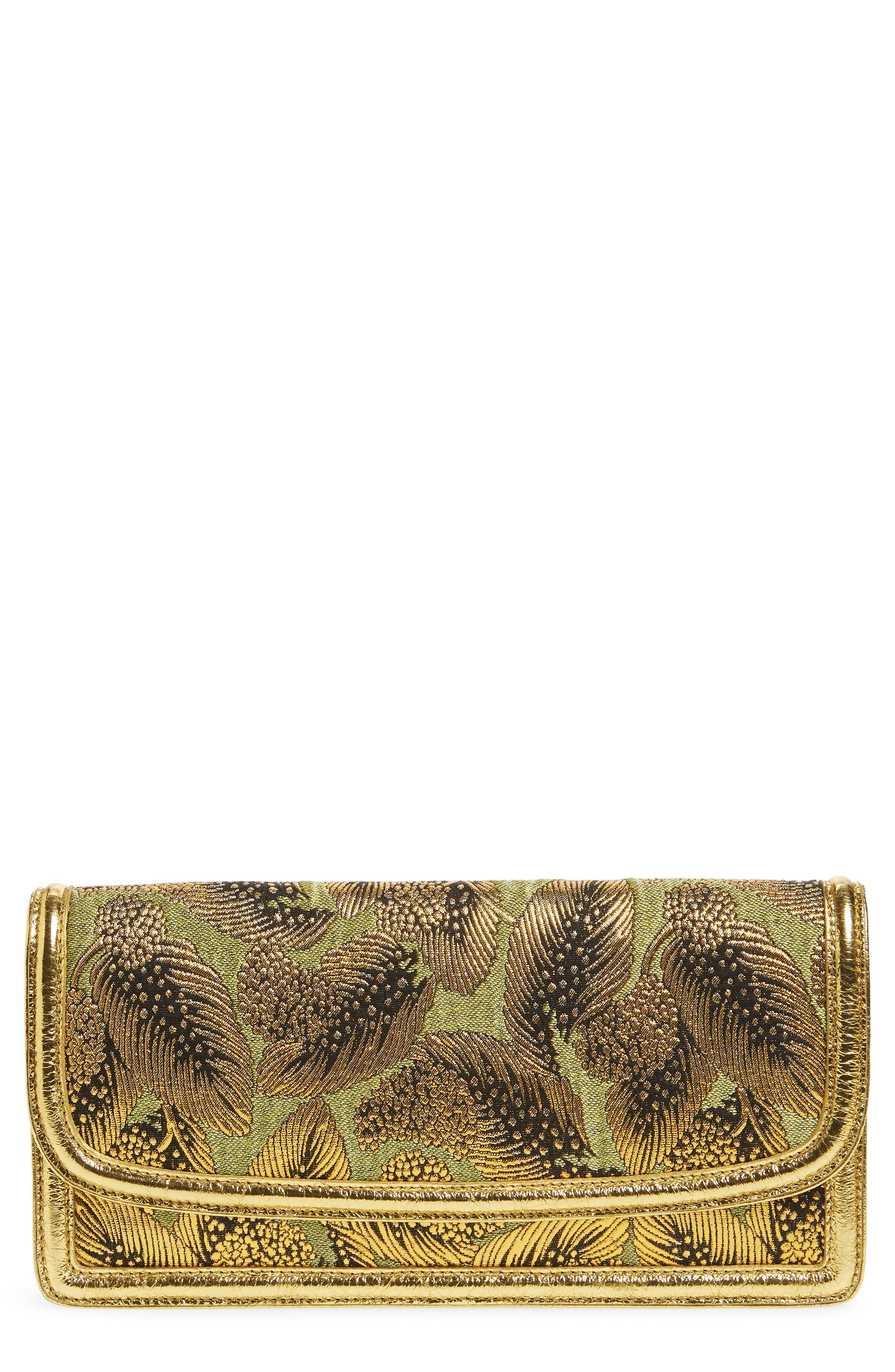Elongated Metallic Feather Envelope Clutch,                         Main,                         color, Gold