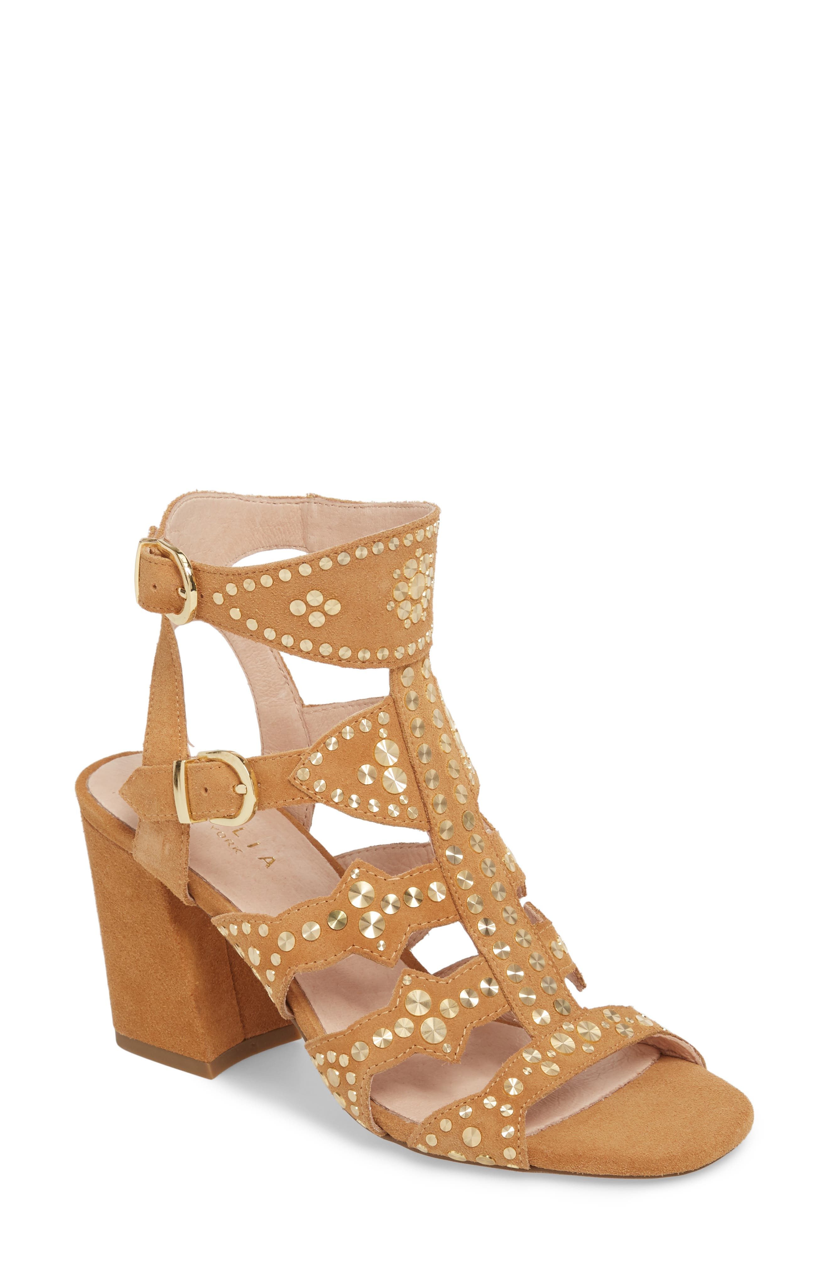Cosmo Studded Sandal,                             Main thumbnail 1, color,                             Sand Suede