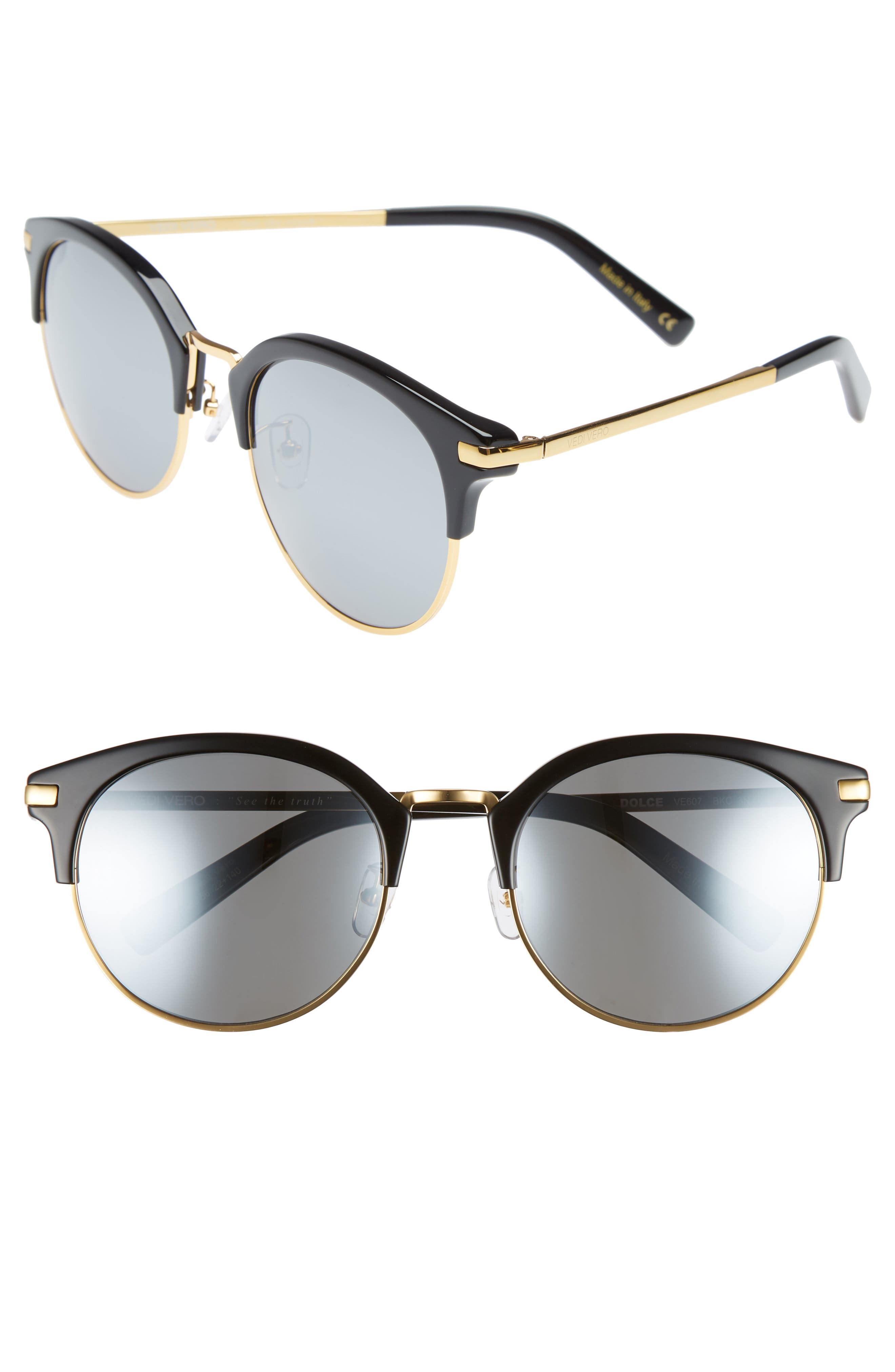 56mm Round Sunglasses,                             Main thumbnail 1, color,                             Gold And Black/Blue Mirror