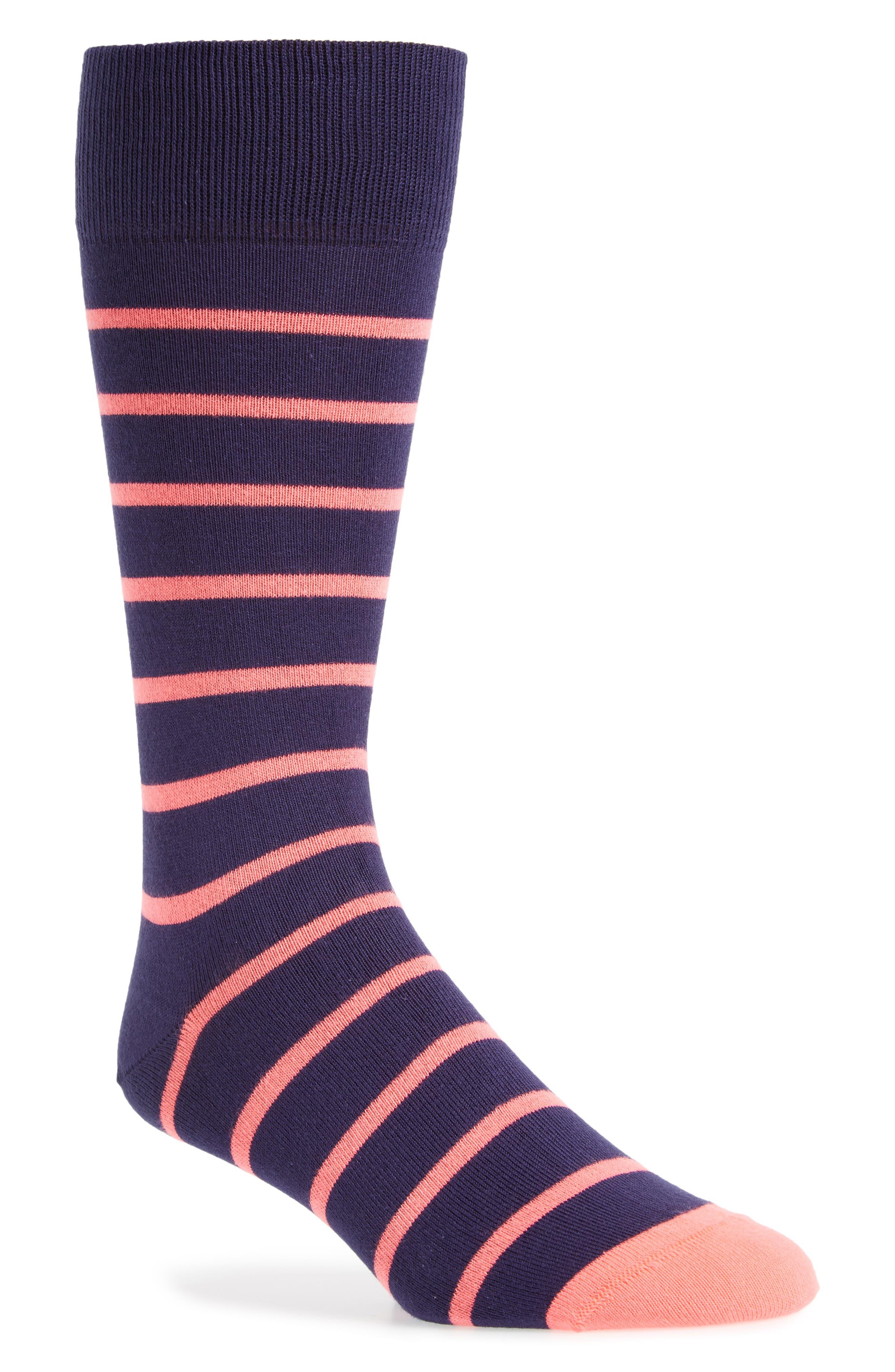 Stripe Crew Socks,                             Main thumbnail 1, color,                             Black/ Pink