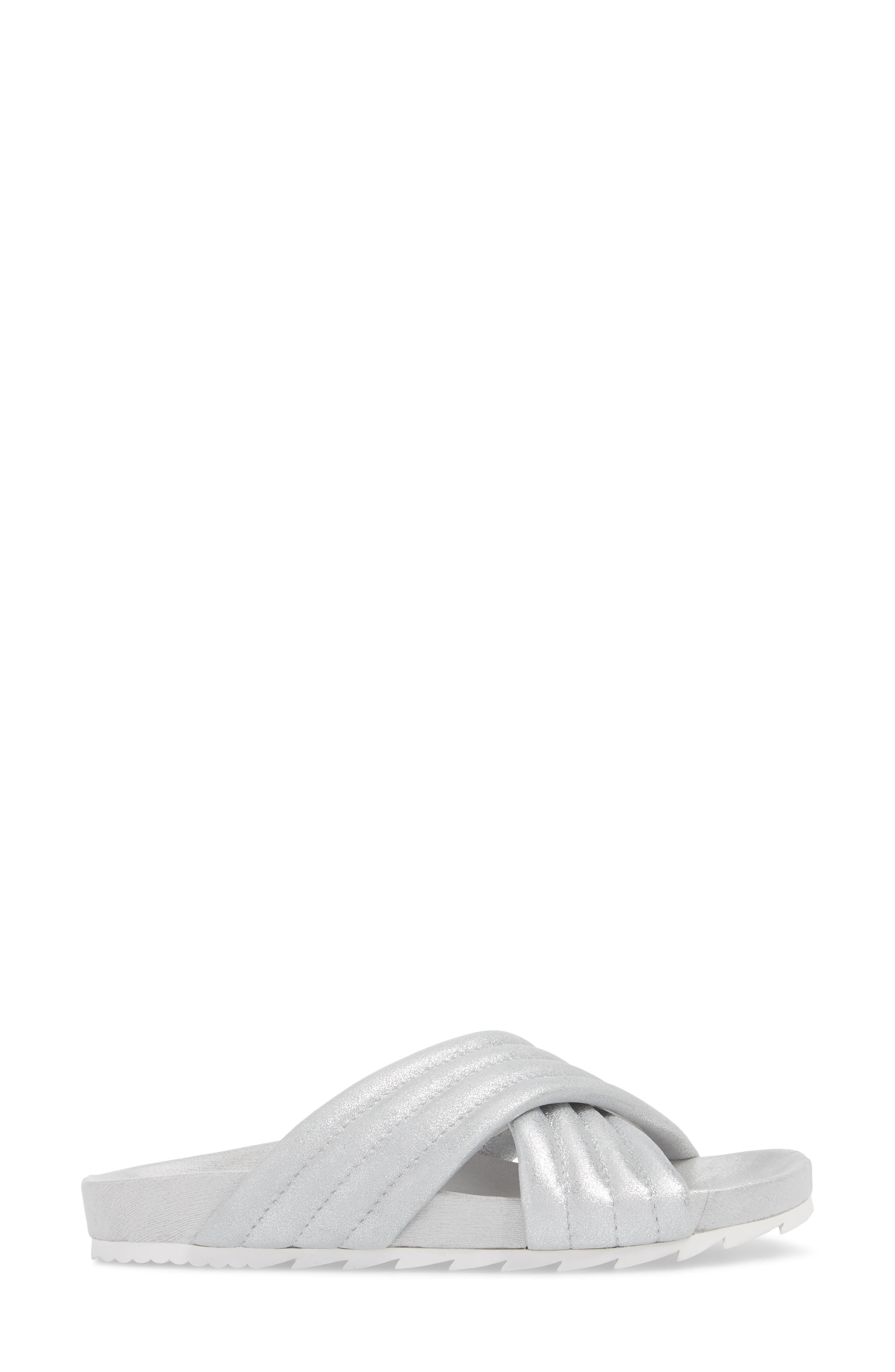 Crisscross Slide Sandal,                             Alternate thumbnail 3, color,                             Silver Metallic Leather