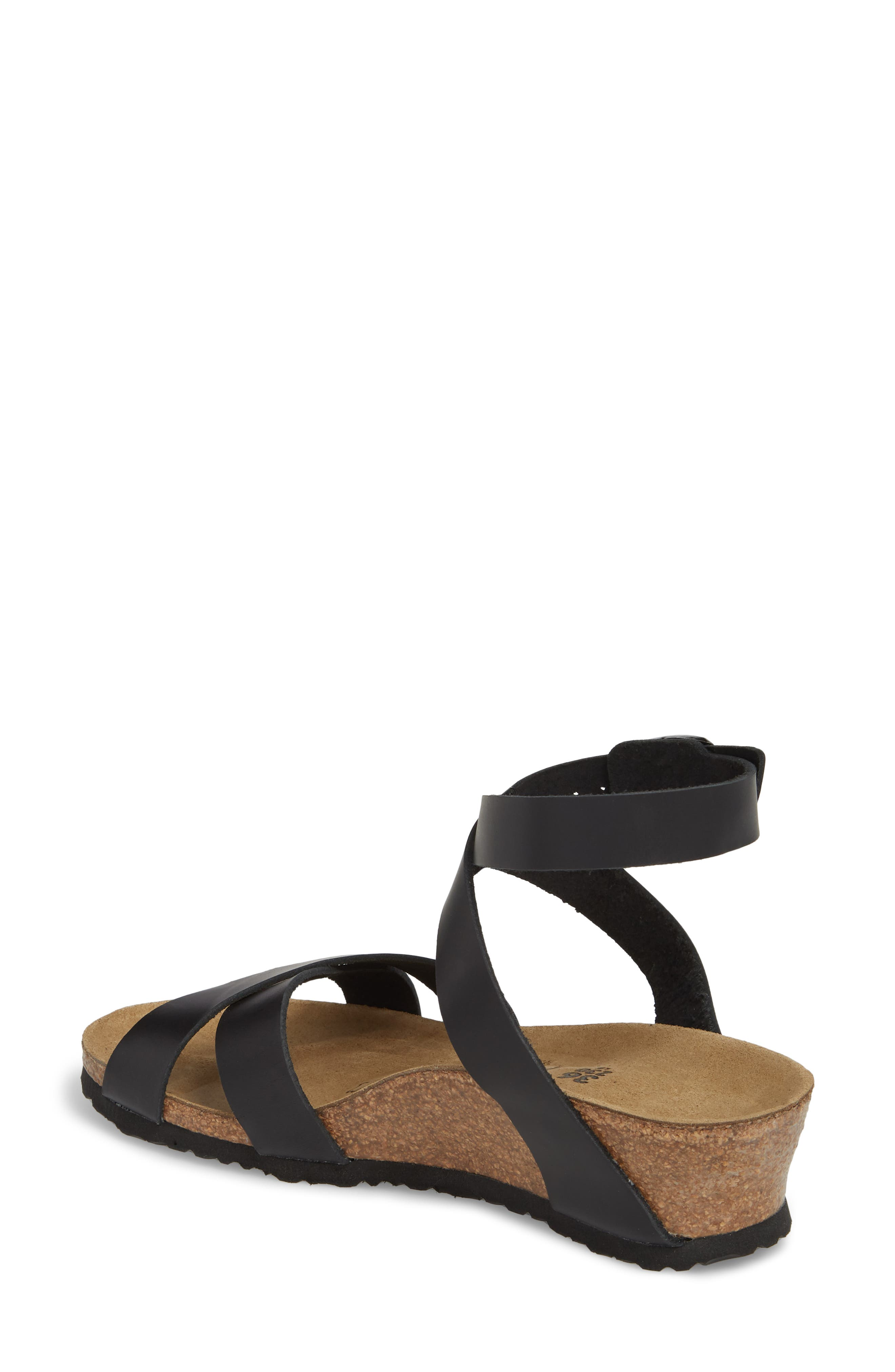 Papillio by Birkenstock Lola Wedge Sandal,                             Alternate thumbnail 2, color,                             Black Leather