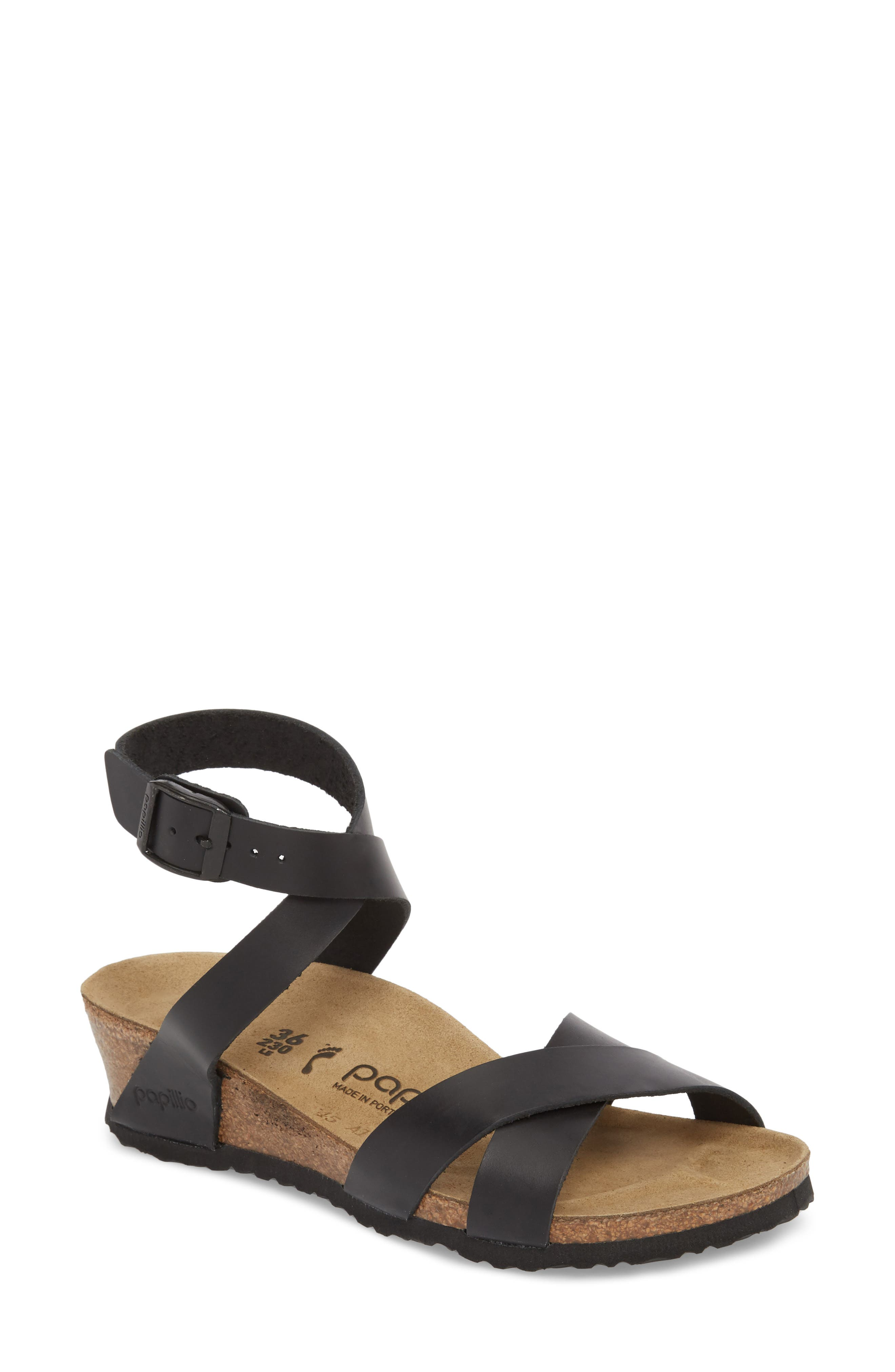 Papillio by Birkenstock Lola Wedge Sandal,                             Main thumbnail 1, color,                             Black Leather