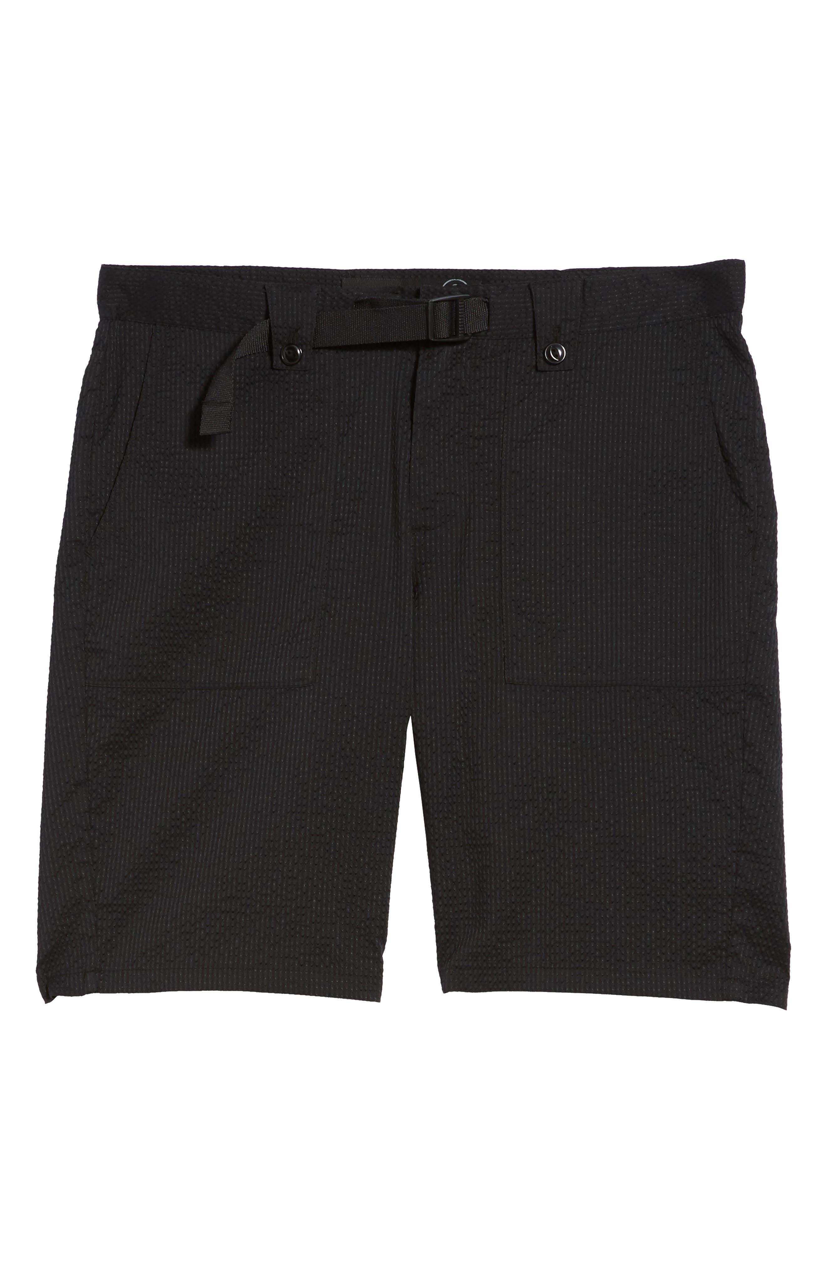Utility Seersucker Shorts,                             Alternate thumbnail 6, color,                             Black Seersucker