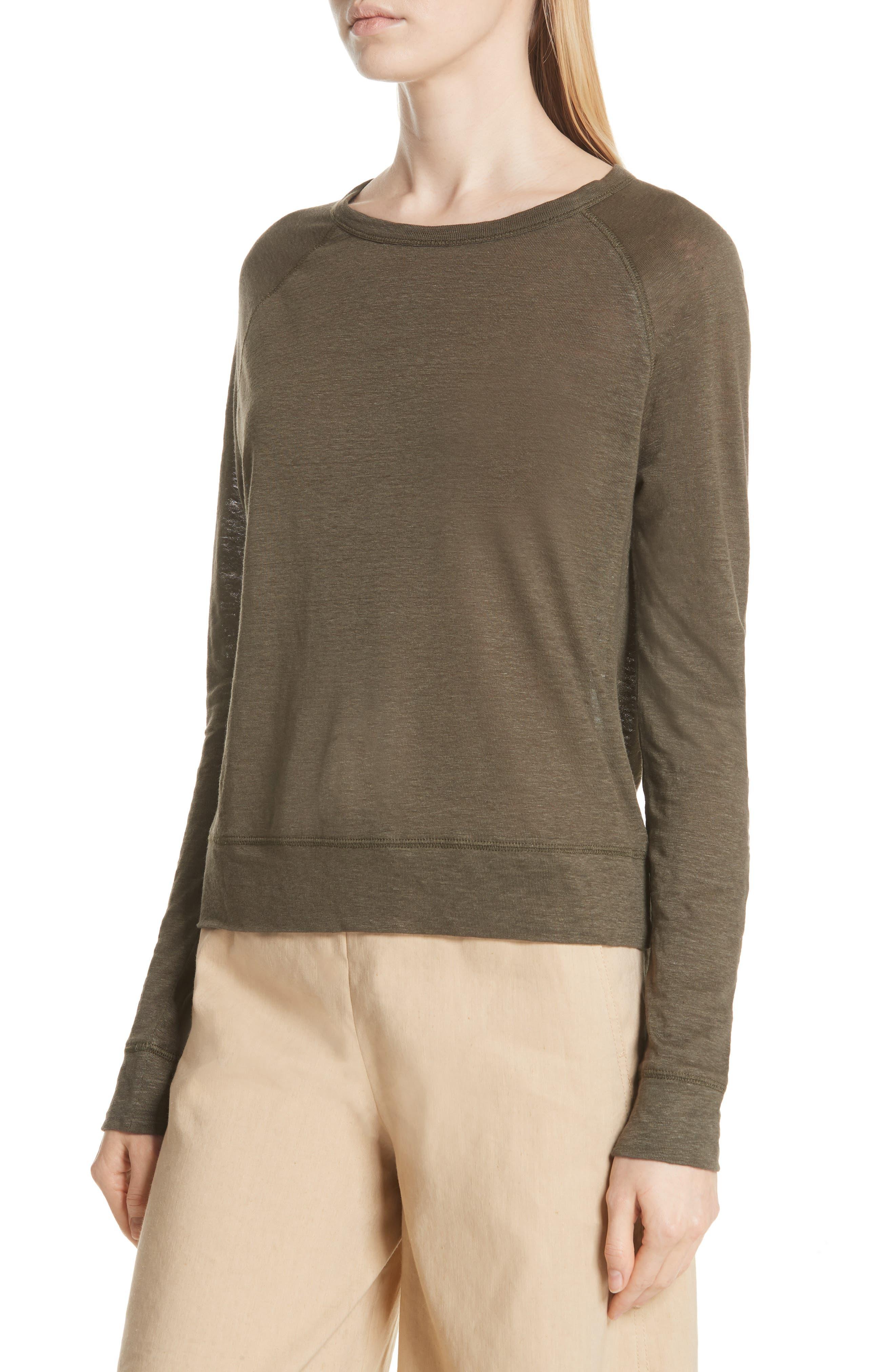 Linen Pullover,                             Alternate thumbnail 4, color,                             Bayleaf