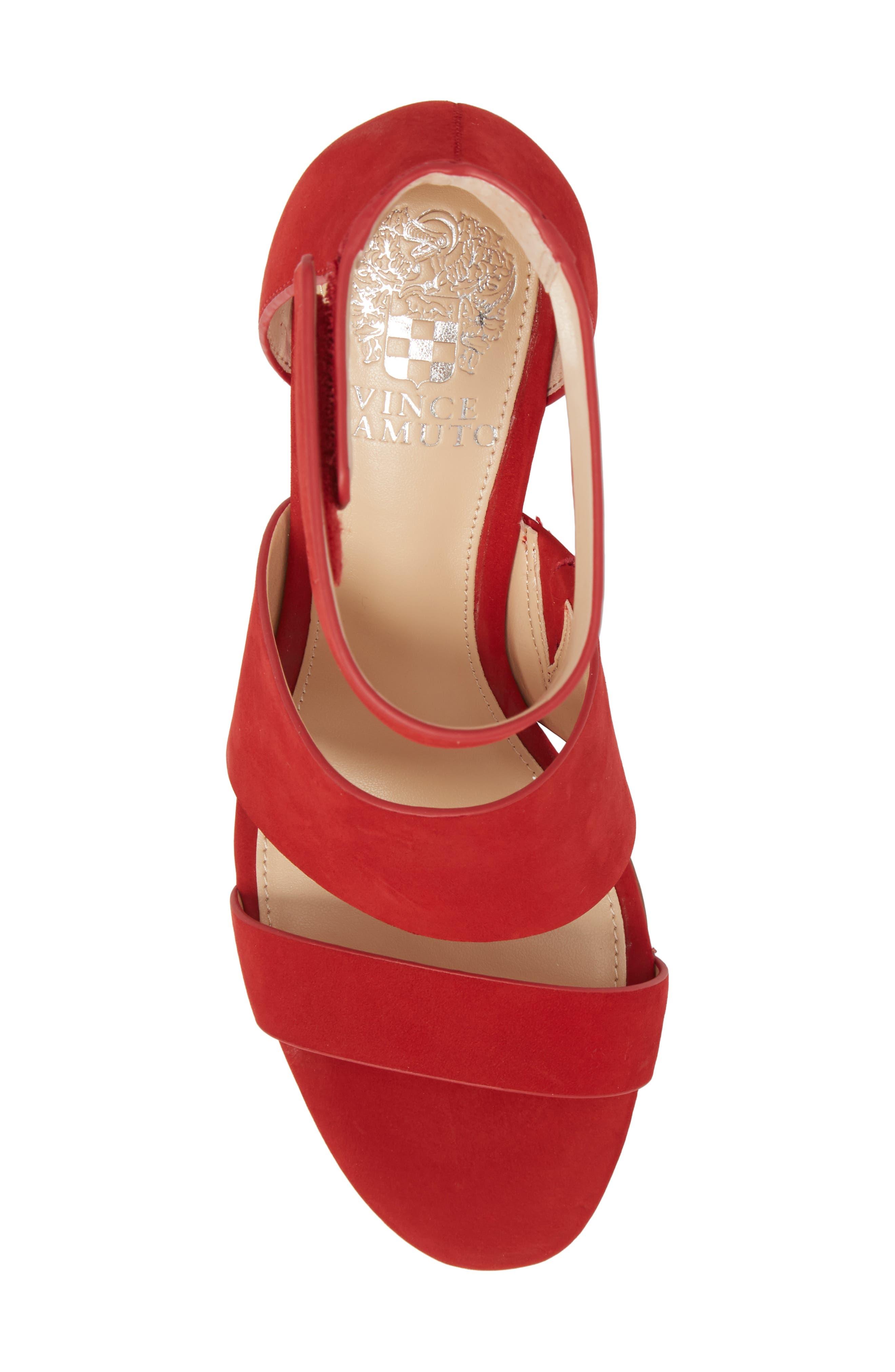 Junette Sandal,                             Alternate thumbnail 5, color,                             Cherry Red Leather