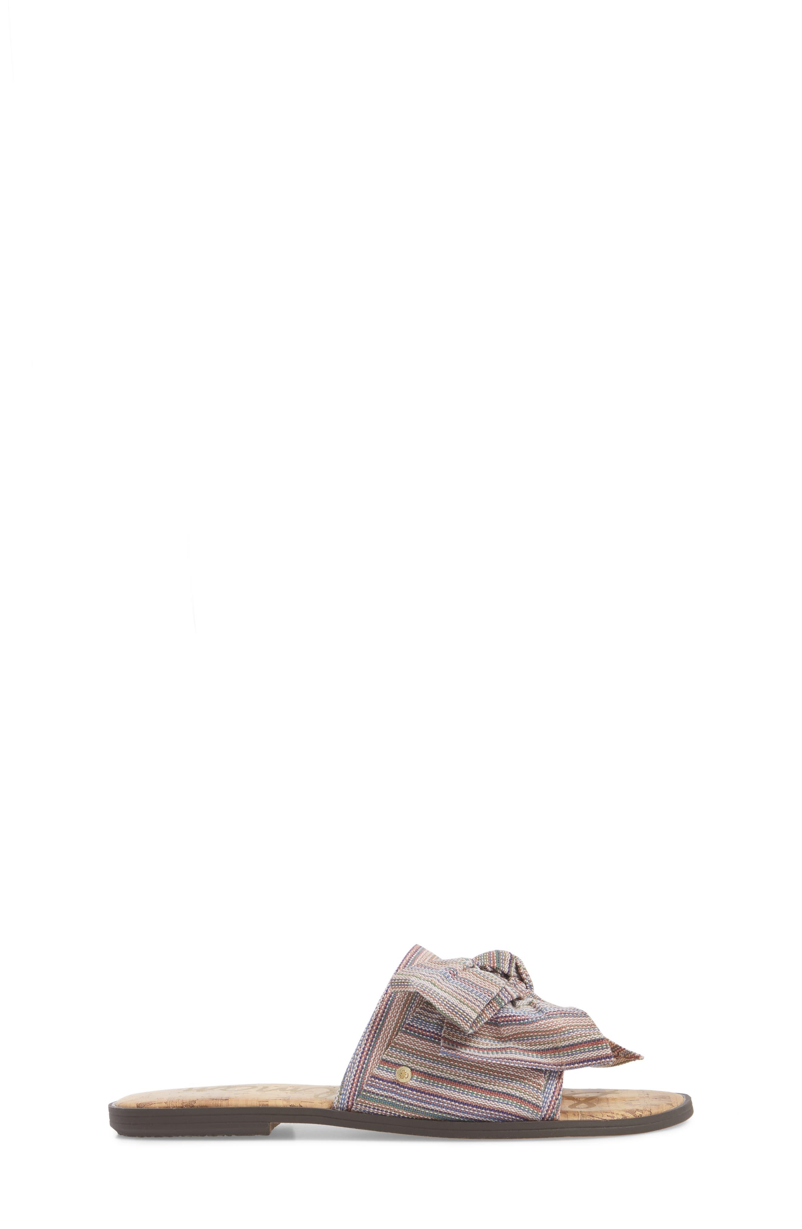 Gigi Bow Faux Leather Sandal,                             Alternate thumbnail 3, color,                             Tan Multi Fabric