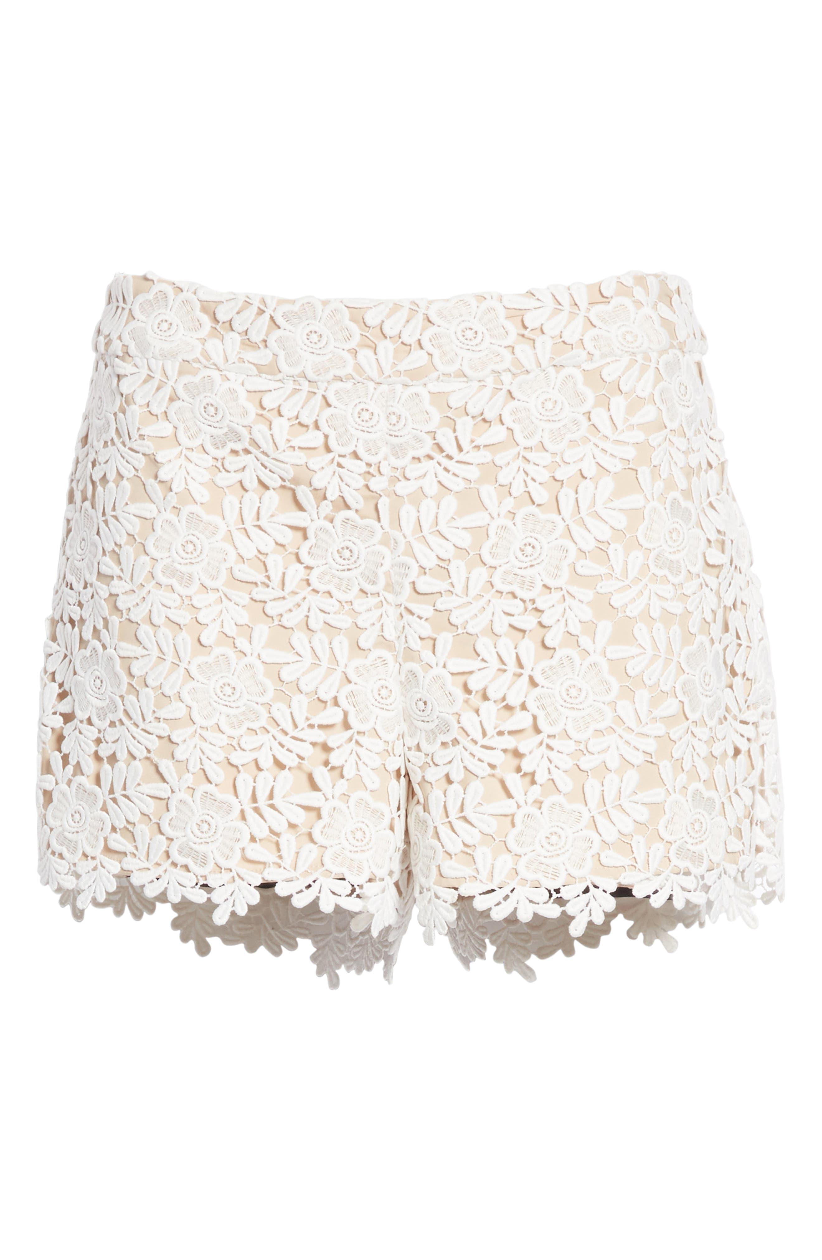 Marisa Floral Lace Shorts,                             Alternate thumbnail 6, color,                             Off White/ Sesame