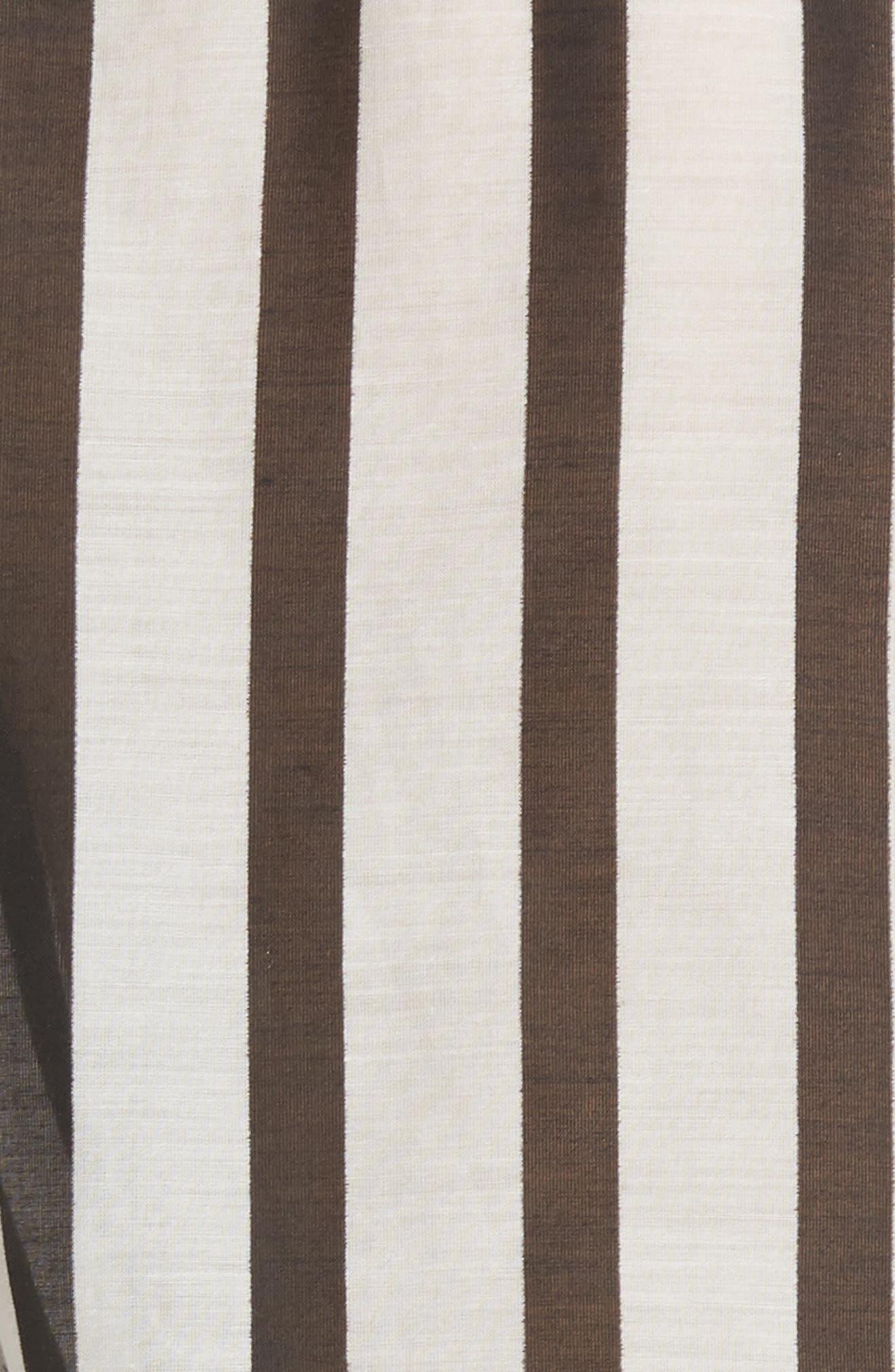 Geraldine Bow Sleeve Stripe Cotton Silk Tunic Top,                             Alternate thumbnail 5, color,                             Monochrome Stripe